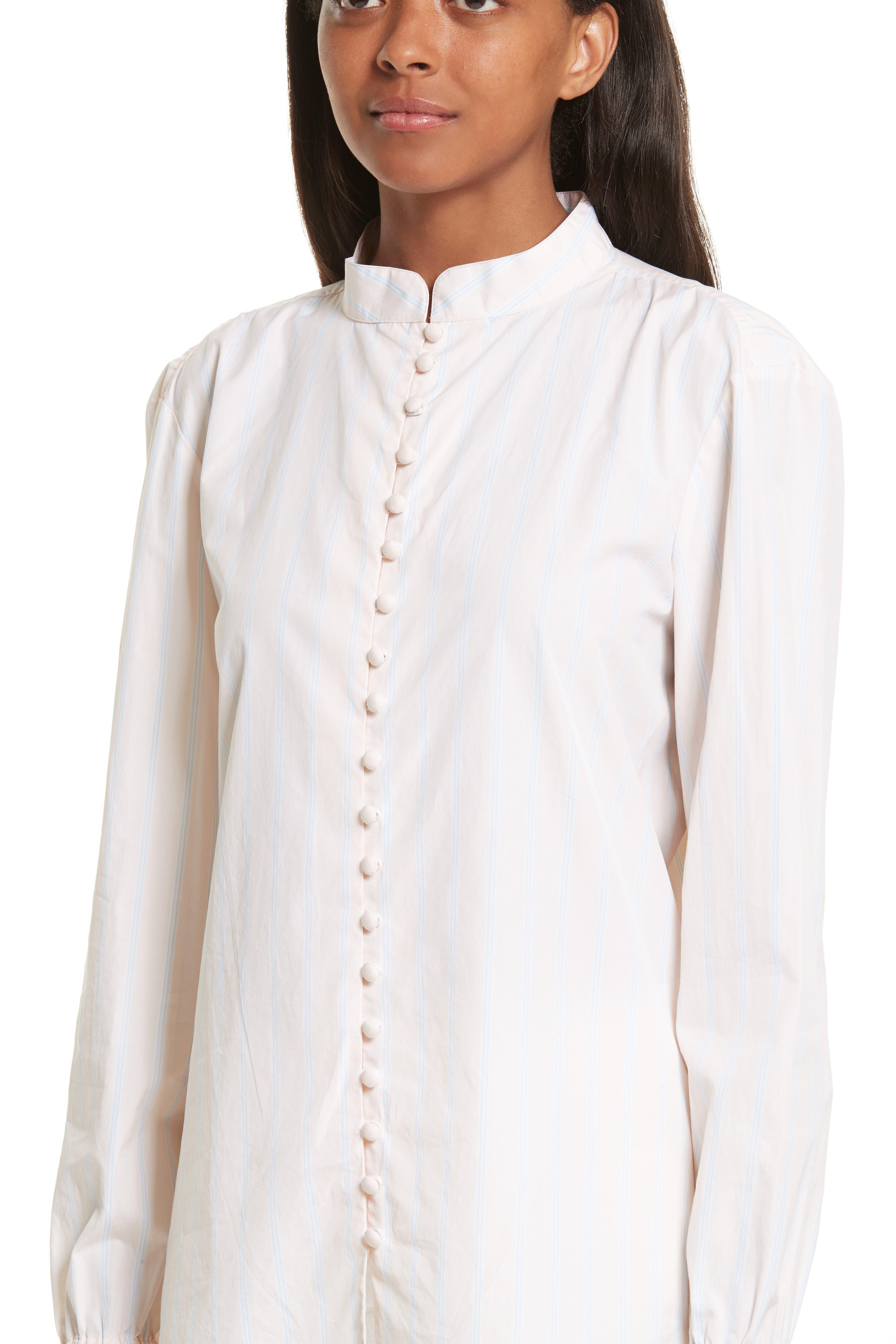 Ruffle Cuff Cotton Shirt,                             Alternate thumbnail 4, color,