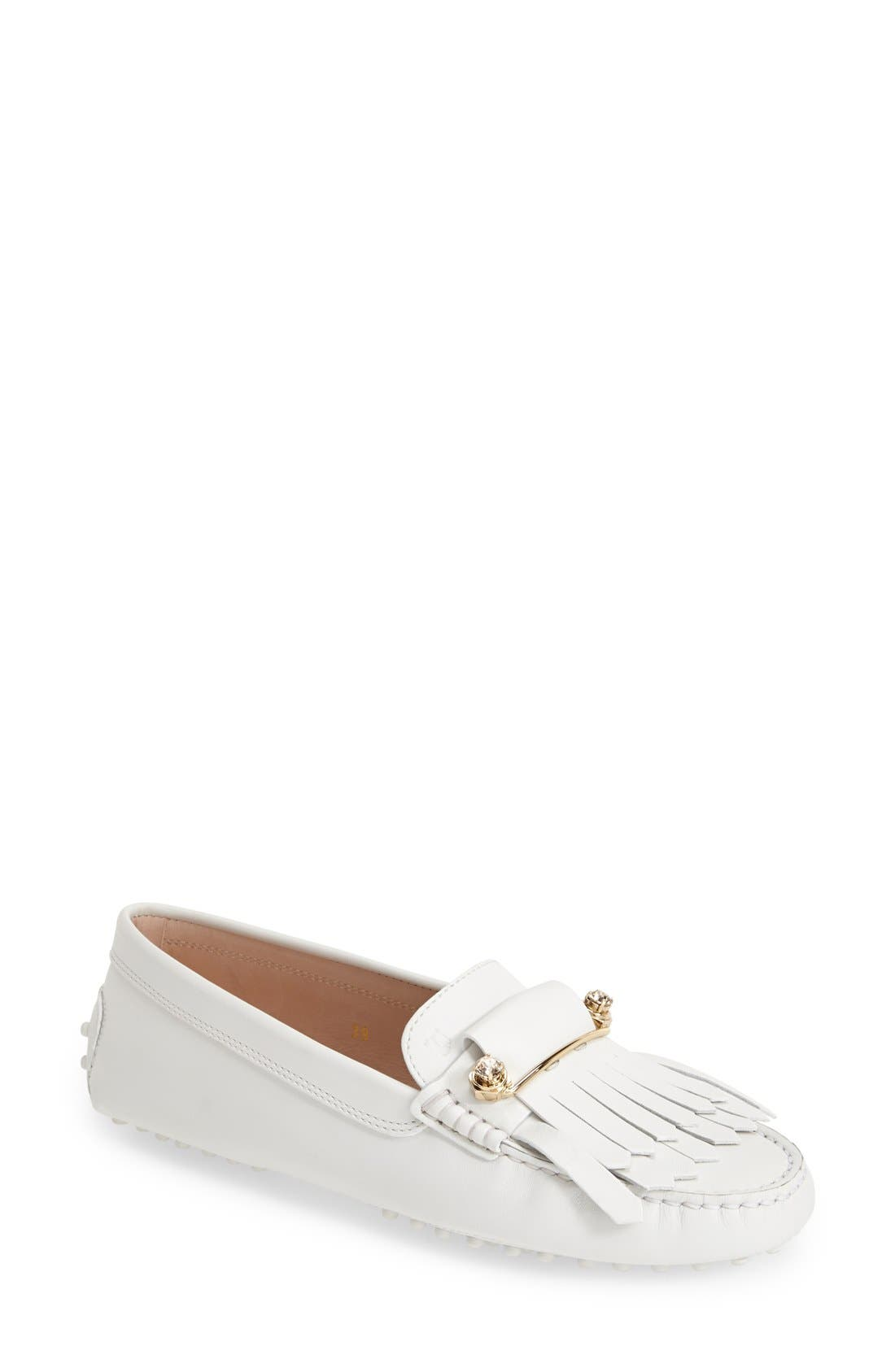TOD'S,                             'Gommini' Crystal Embellished Fringed Leather Driving Moccasin,                             Main thumbnail 1, color,                             100
