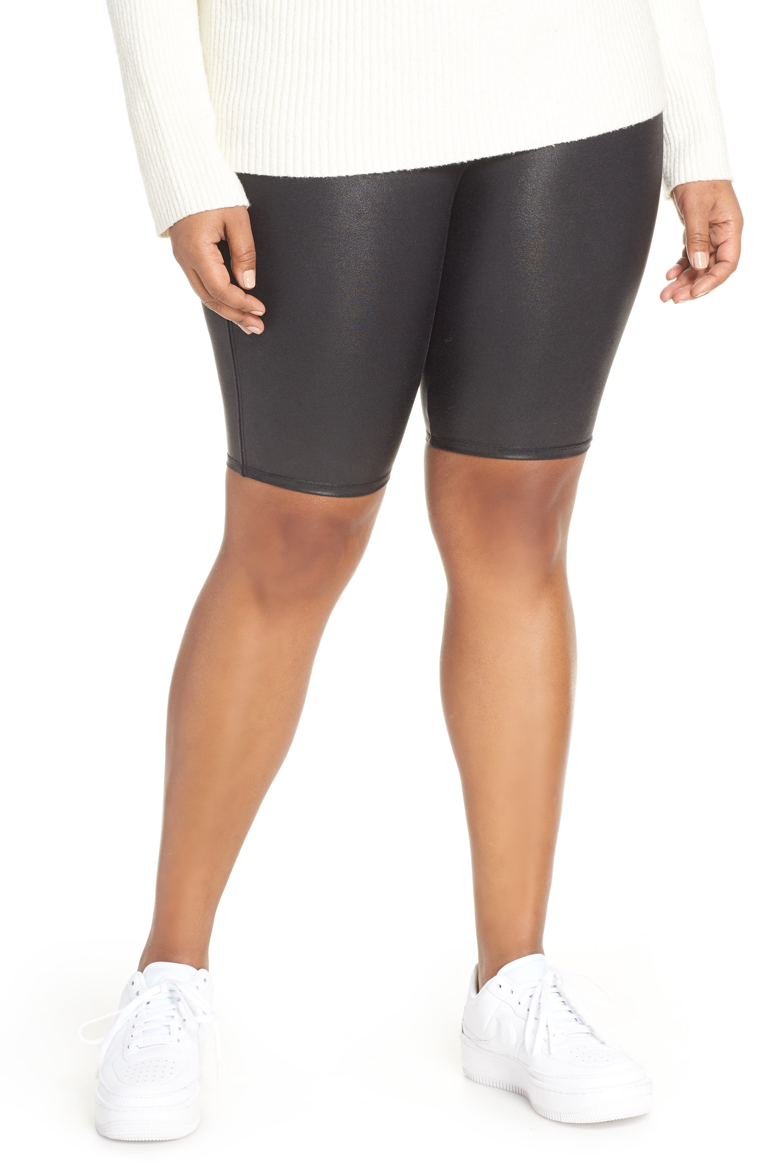 Faux Leather Bike Shorts, Main, color, BLACK