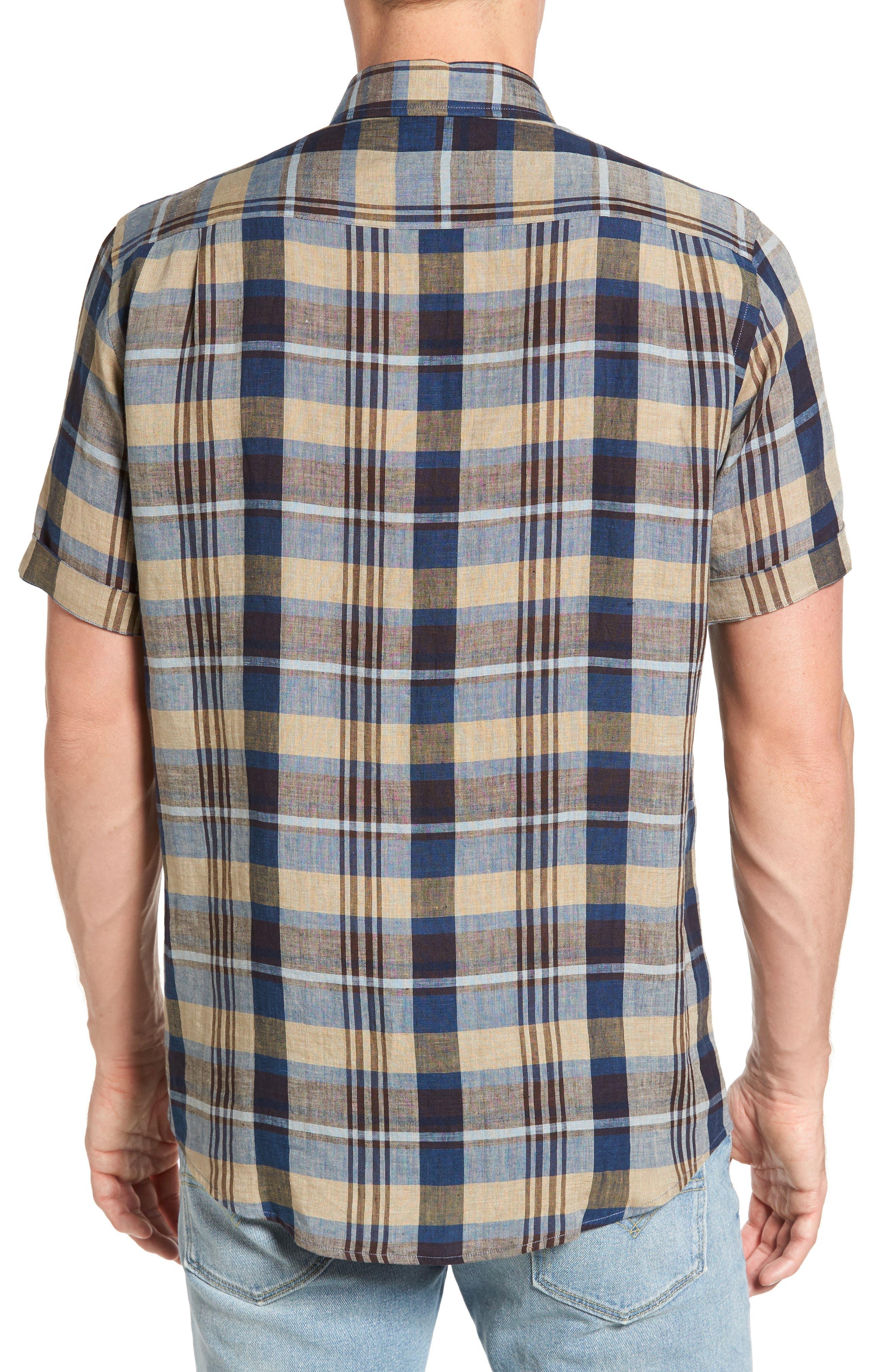 Pavillion Plaid Linen Sport Shirt,                             Alternate thumbnail 2, color,                             231