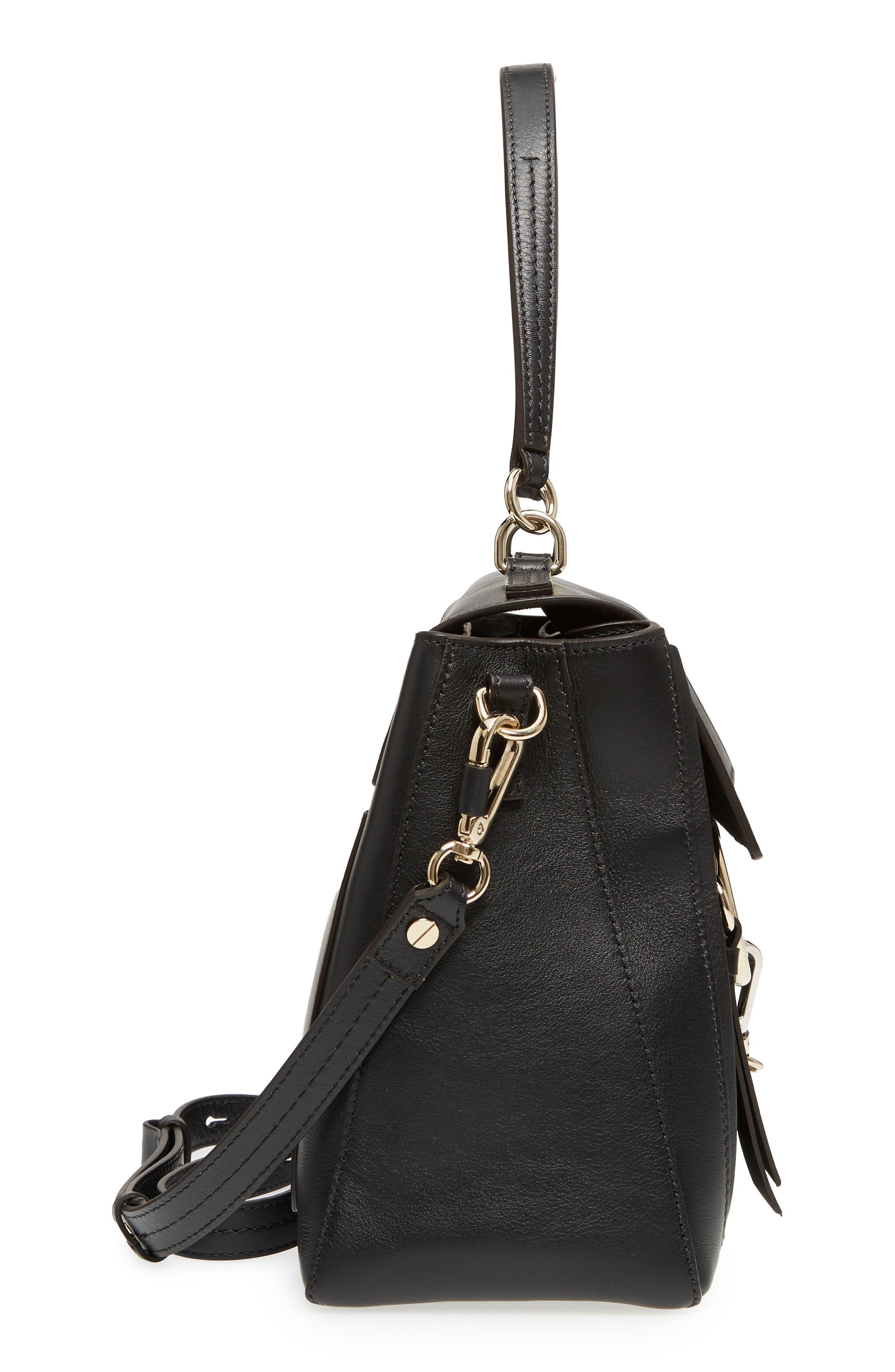 Medium Faye Leather Shoulder Bag,                             Alternate thumbnail 7, color,                             BLACK
