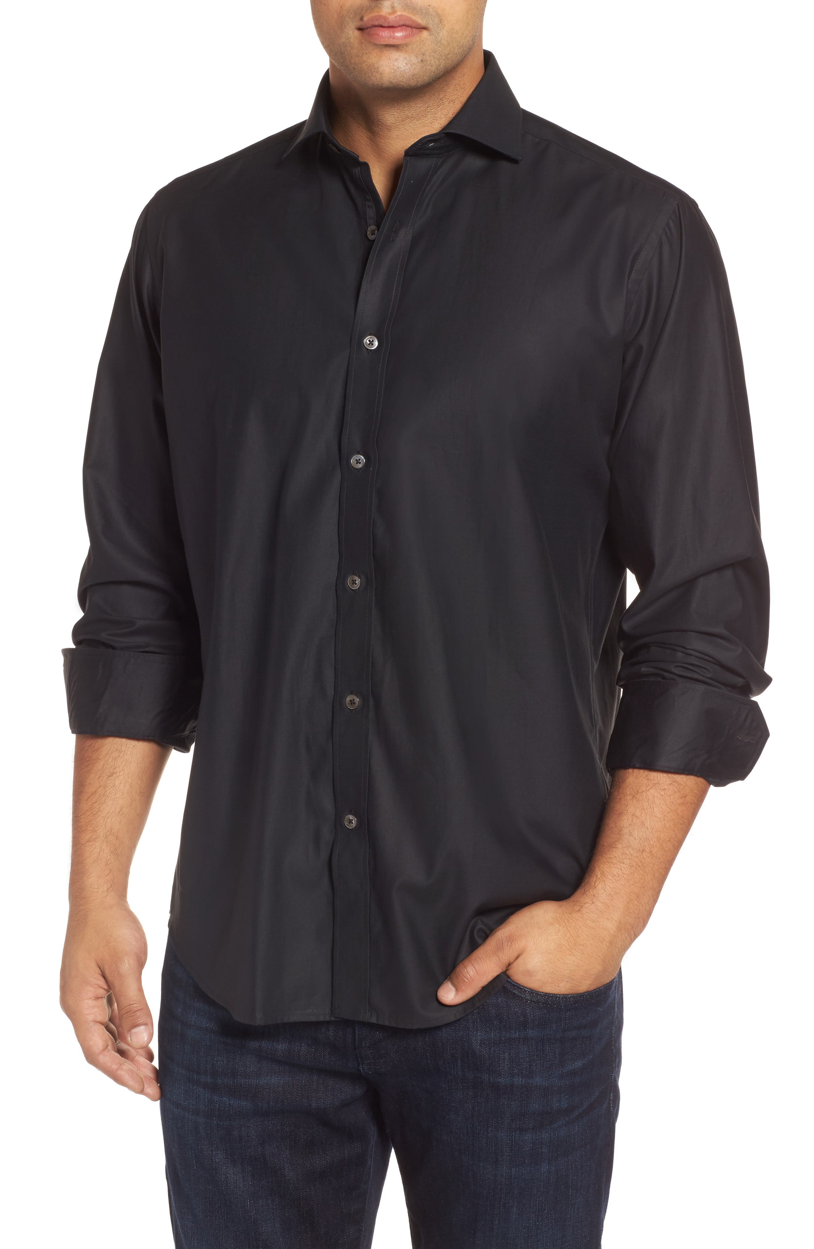 Classic Fit Solid Mercerized Cotton Sport Shirt,                         Main,                         color, 001