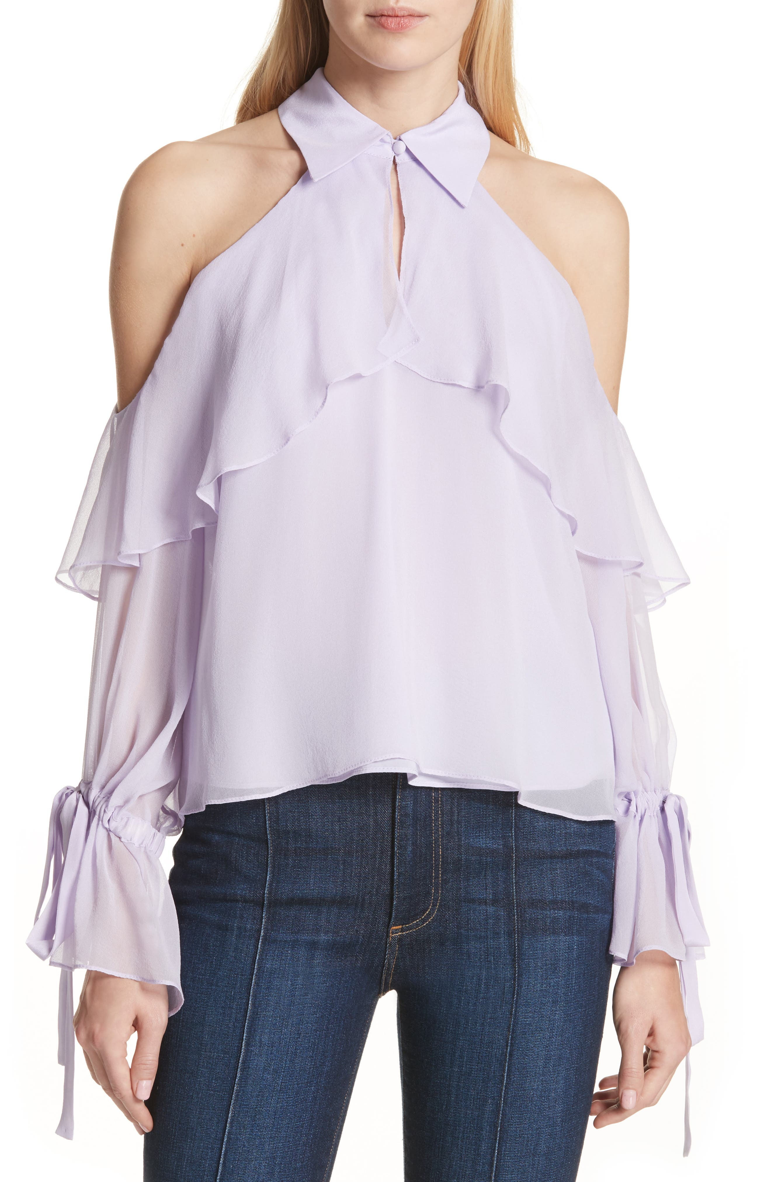 Blayne Cold Shoulder Silk Blouse,                             Main thumbnail 2, color,
