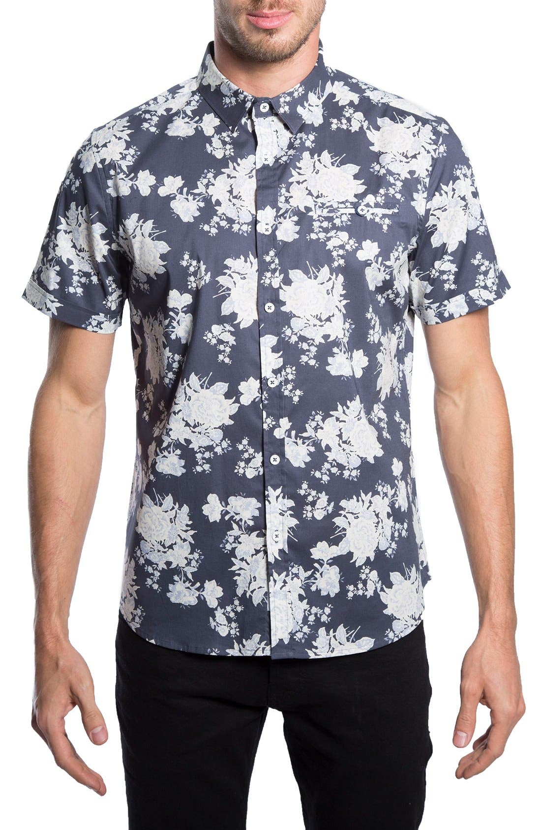 'Better Place' Trim Fit Floral Short Sleeve Woven Shirt,                         Main,                         color, 410