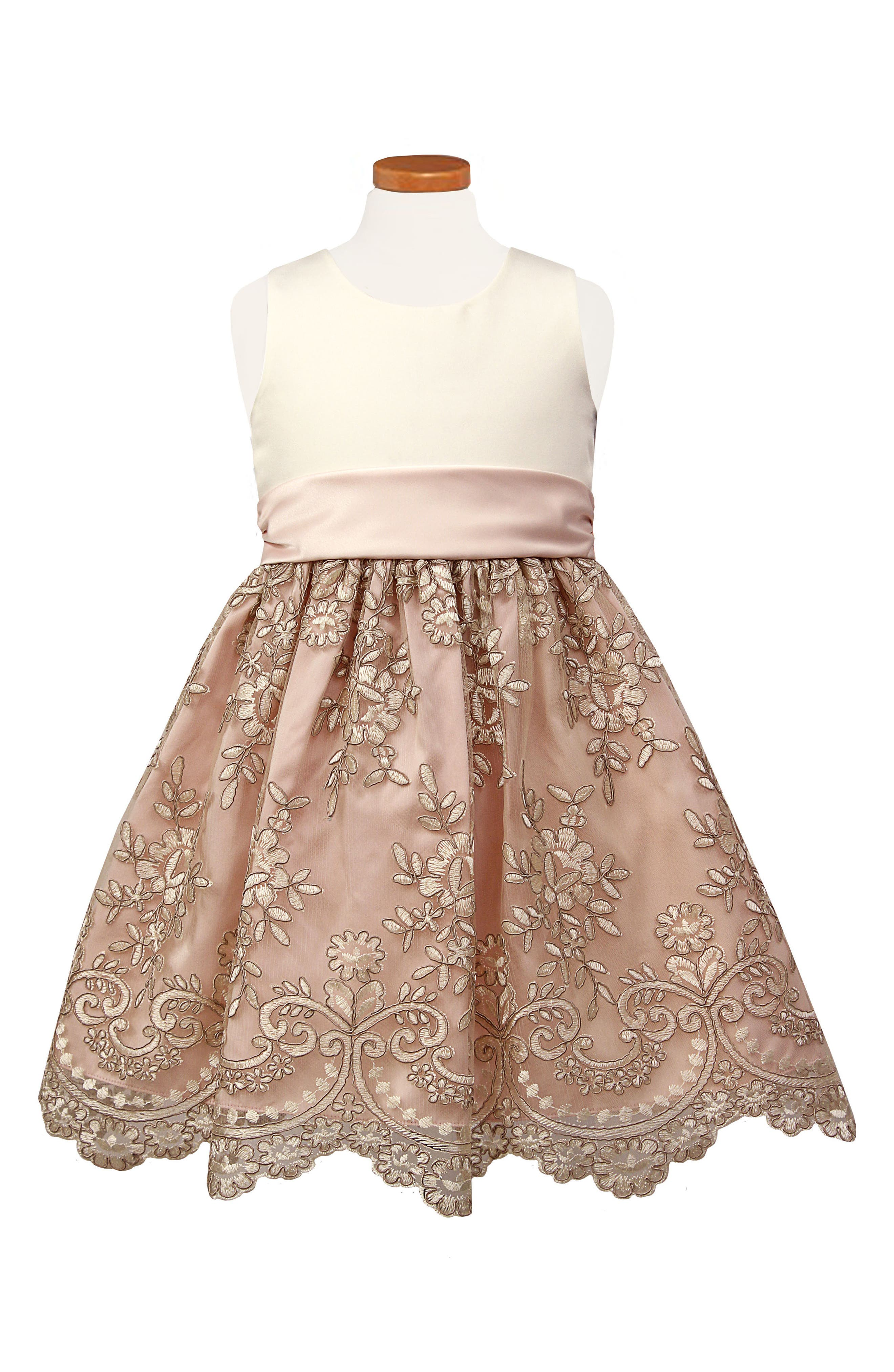 Floral Embroidered Fit & Flare Dress,                         Main,                         color, BLUSH