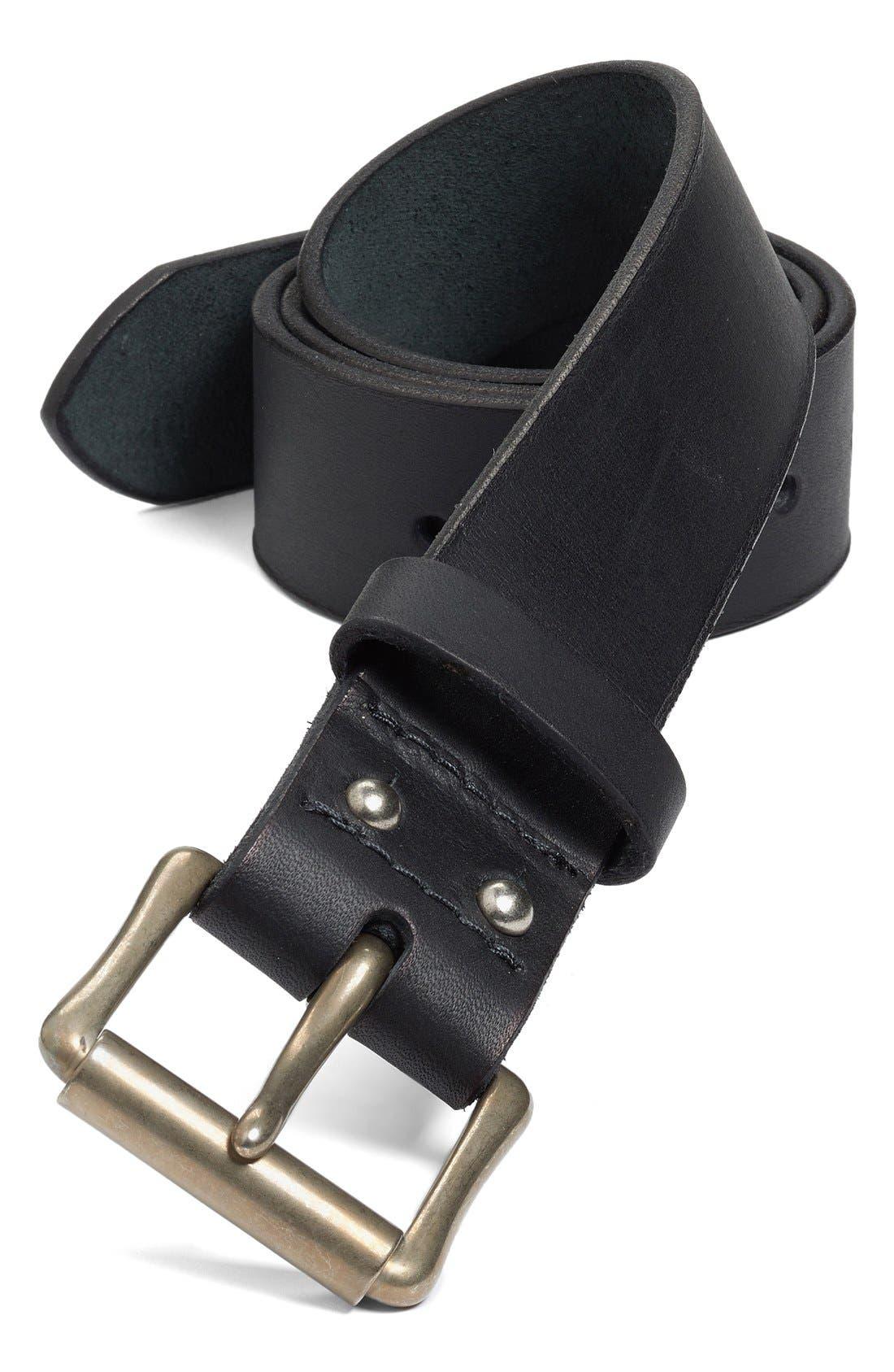 'Pioneer' Belt,                         Main,                         color, BLACK/ NICKEL