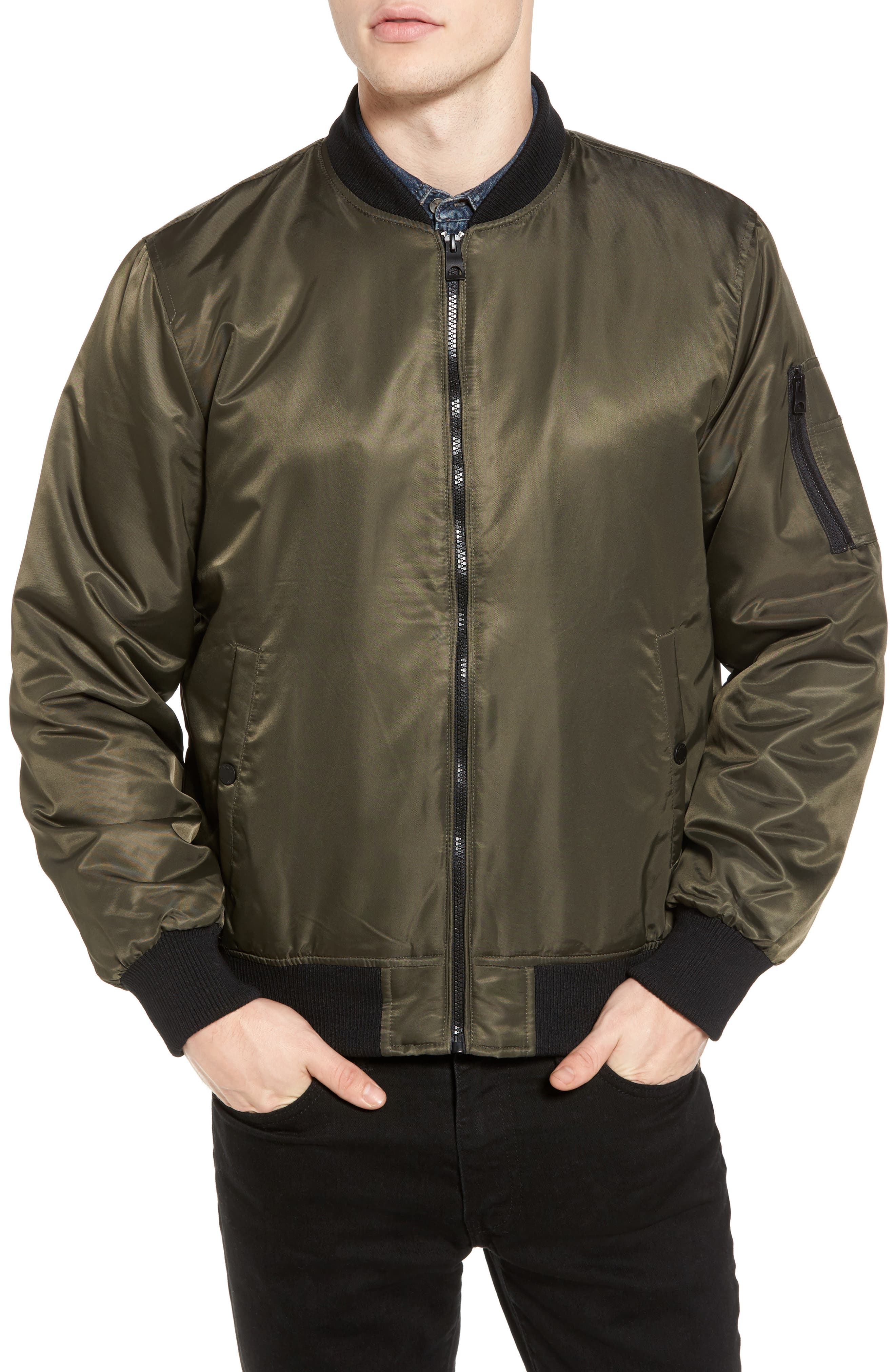 Water Resistant Hooded Satin Flight Jacket,                             Alternate thumbnail 8, color,