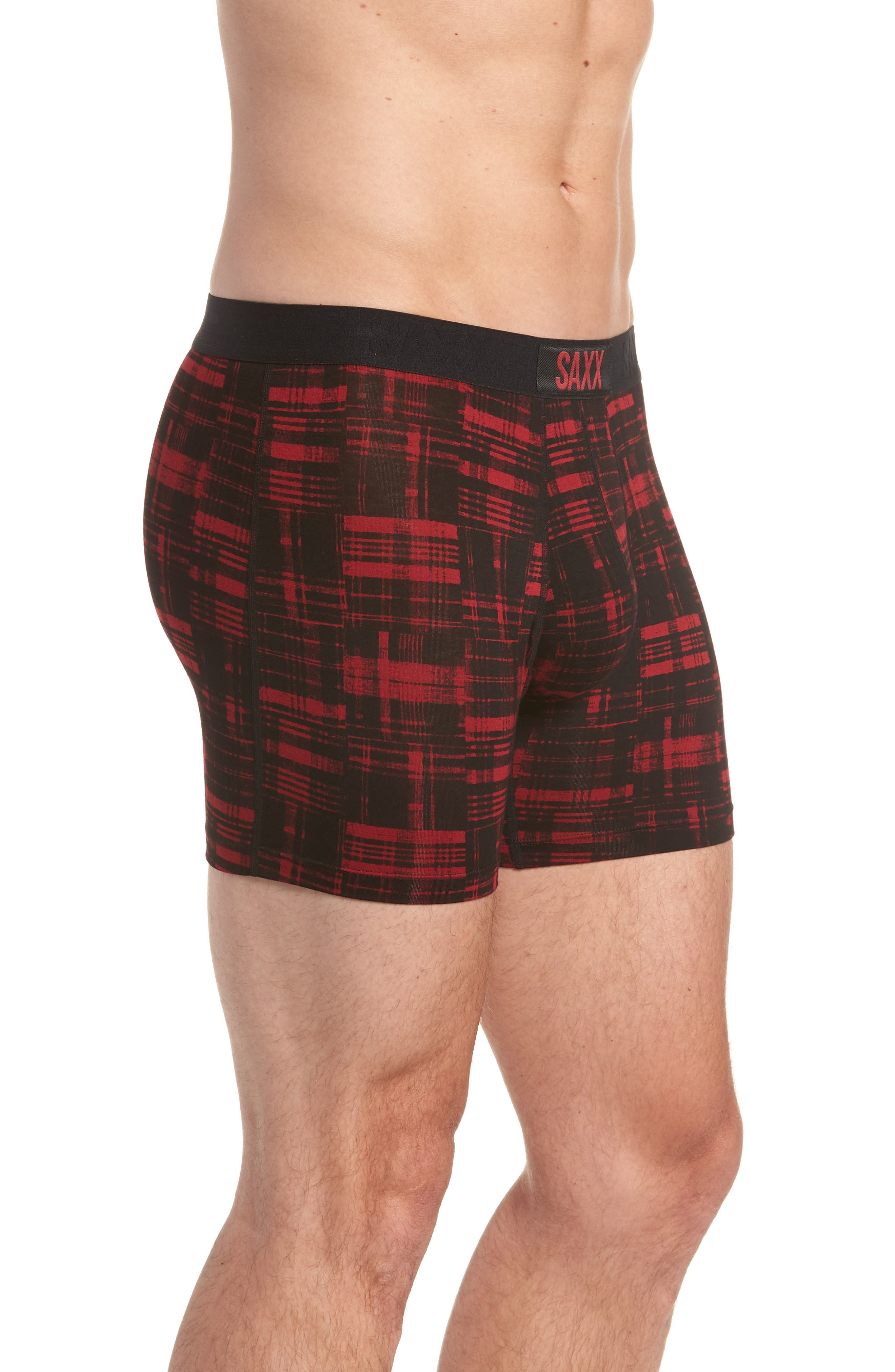 SAXX,                             Vibe Boxer Briefs,                             Alternate thumbnail 3, color,                             RED PATCHED PLAID