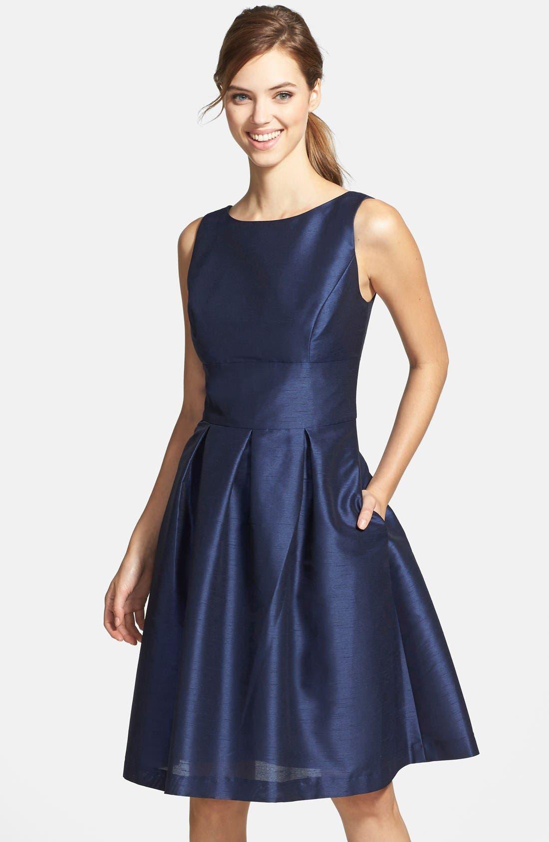 Dupioni Fit & Flare Dress,                             Main thumbnail 8, color,