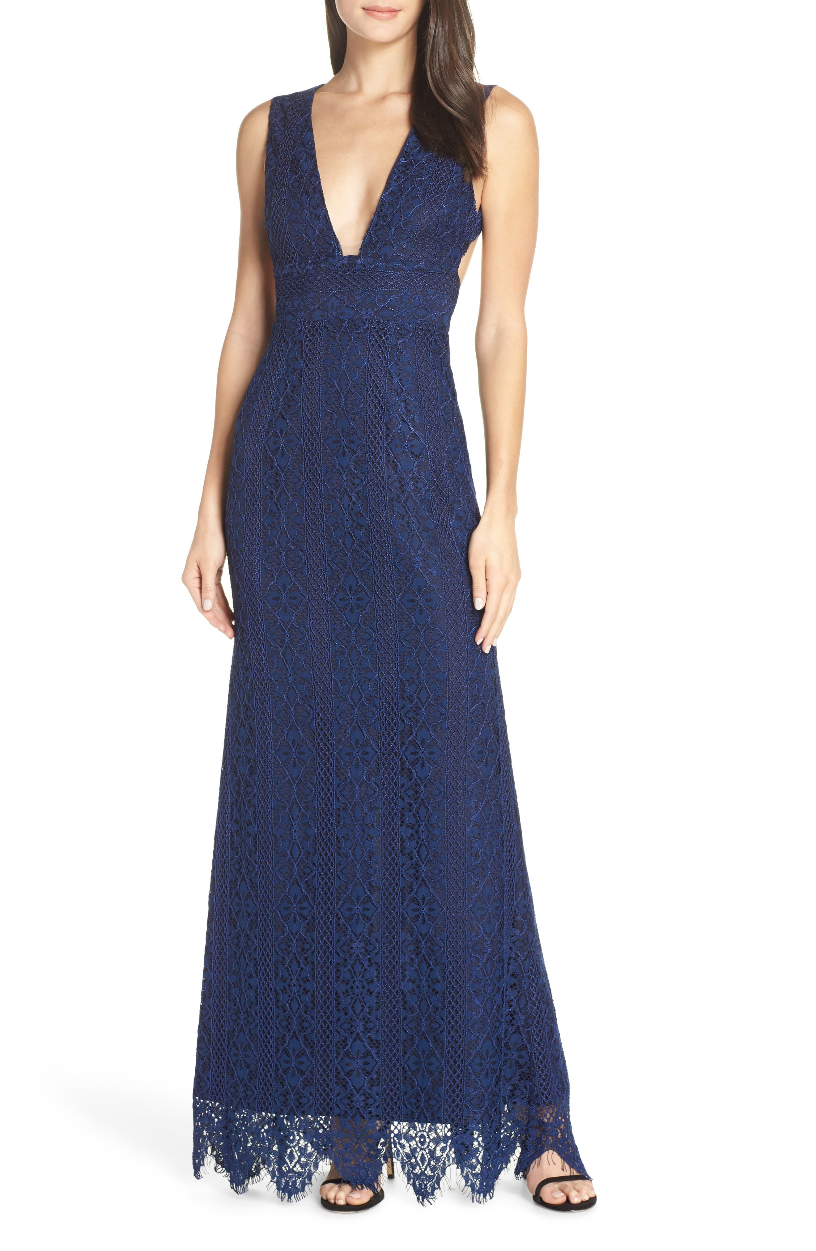 Foxiedox Charlie Plunge Lace Evening Dress, Blue