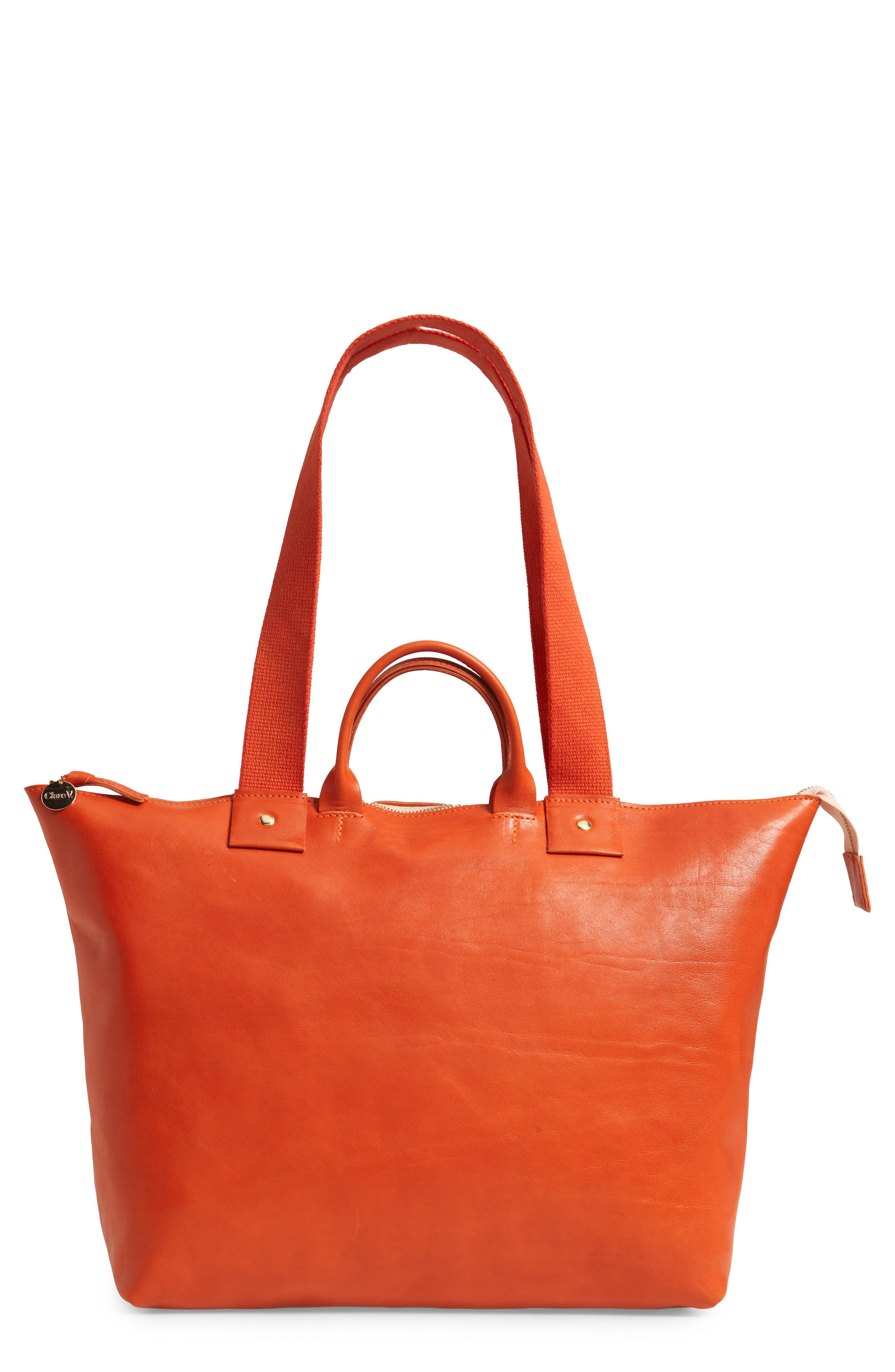 CLARE V Le Zip Leather Tote - Red in Poppy Rustic Pop