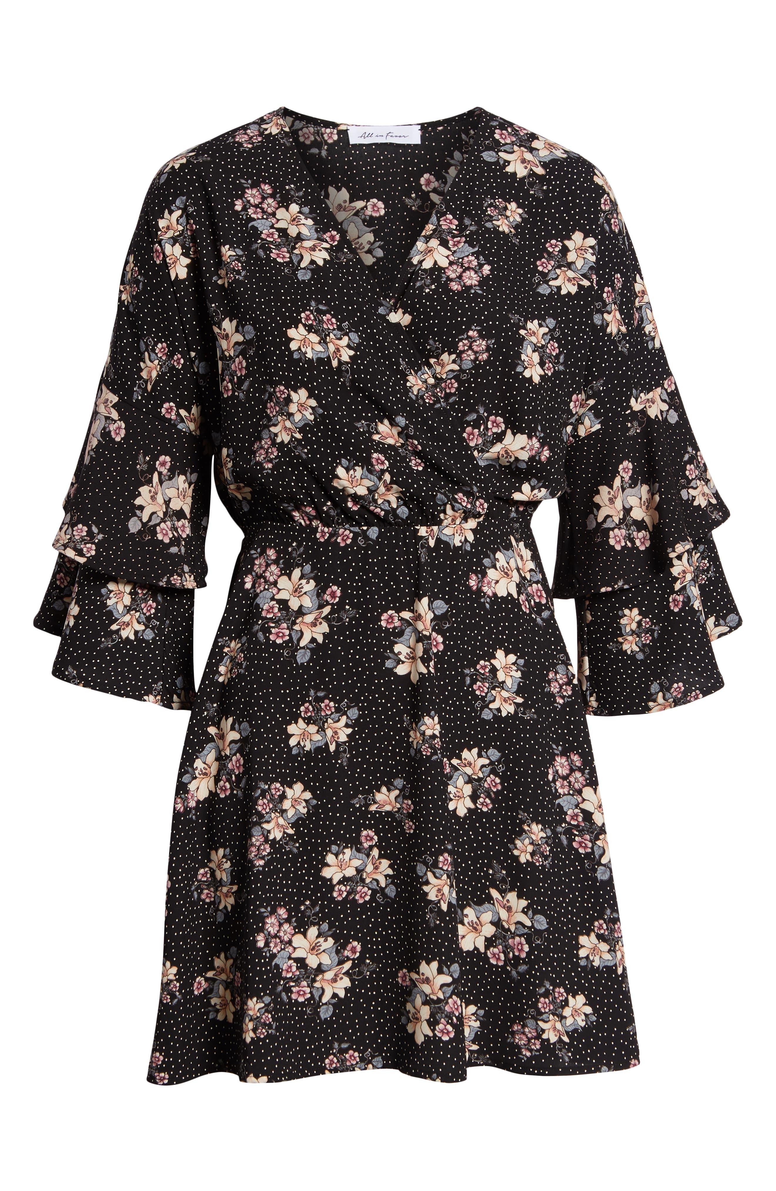 Printed Ruffle Sleeve Minidress,                             Alternate thumbnail 7, color,                             001