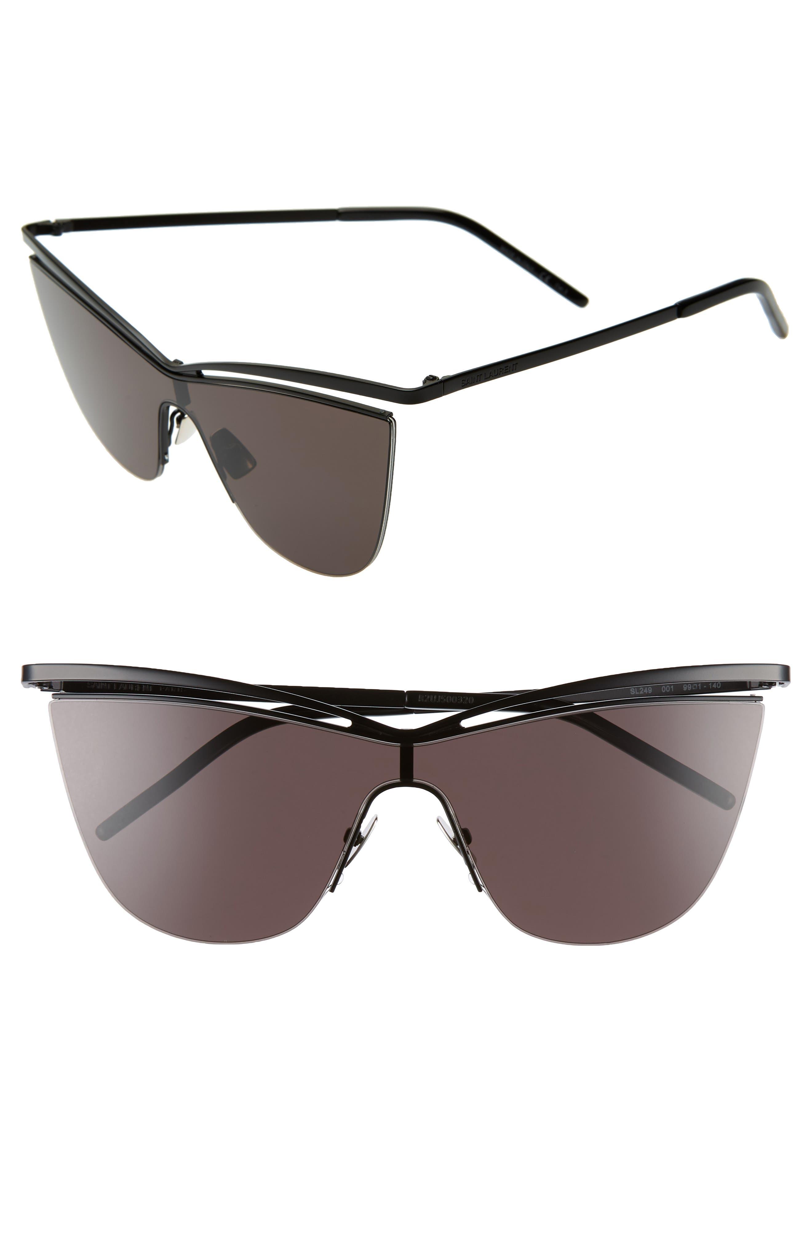 134mm Cat Eye Shield Sunglasses, Main, color, BLACK/ BLACK