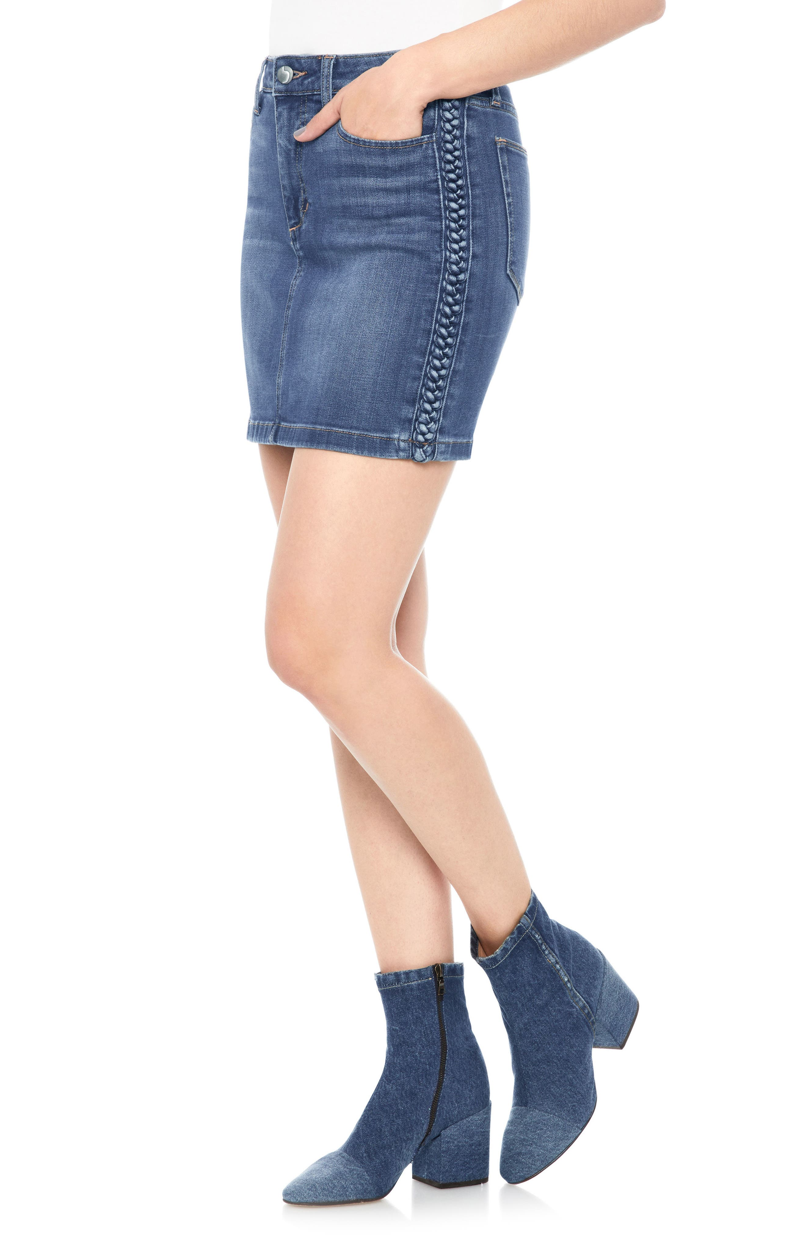 High Waist Denim Miniskirt,                         Main,                         color, PANDORA