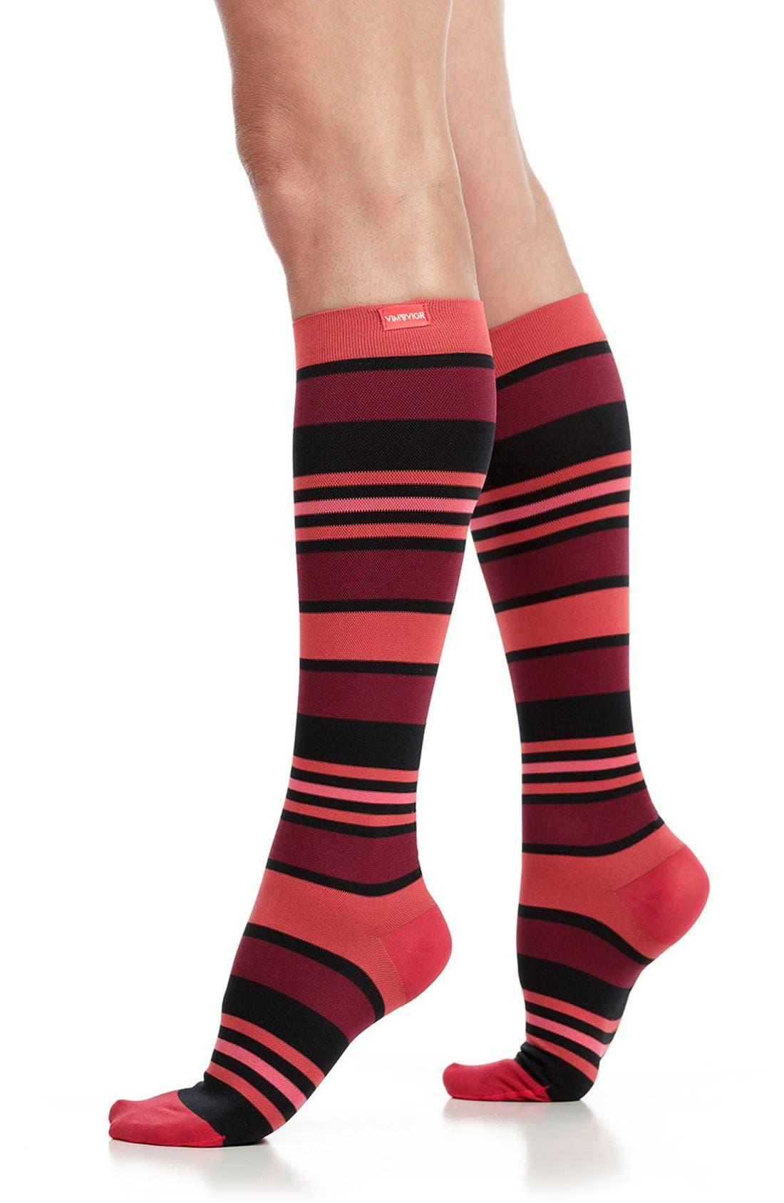 'Fun Stripe' Graduated Compression Trouser Socks,                         Main,                         color, CORAL/ BLACK