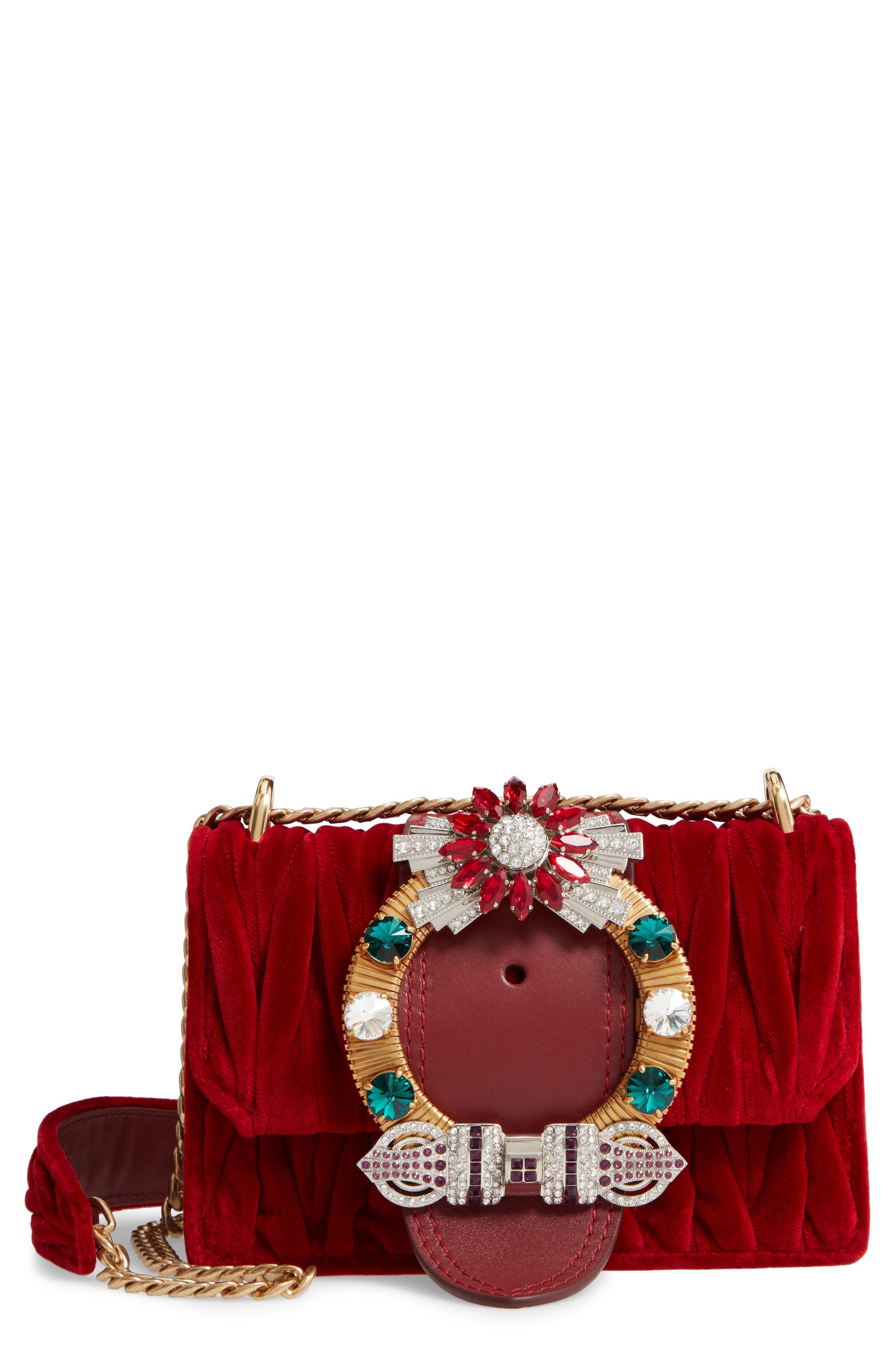 Matelassé Velvet Crossbody Bag, Main, color, CERISE