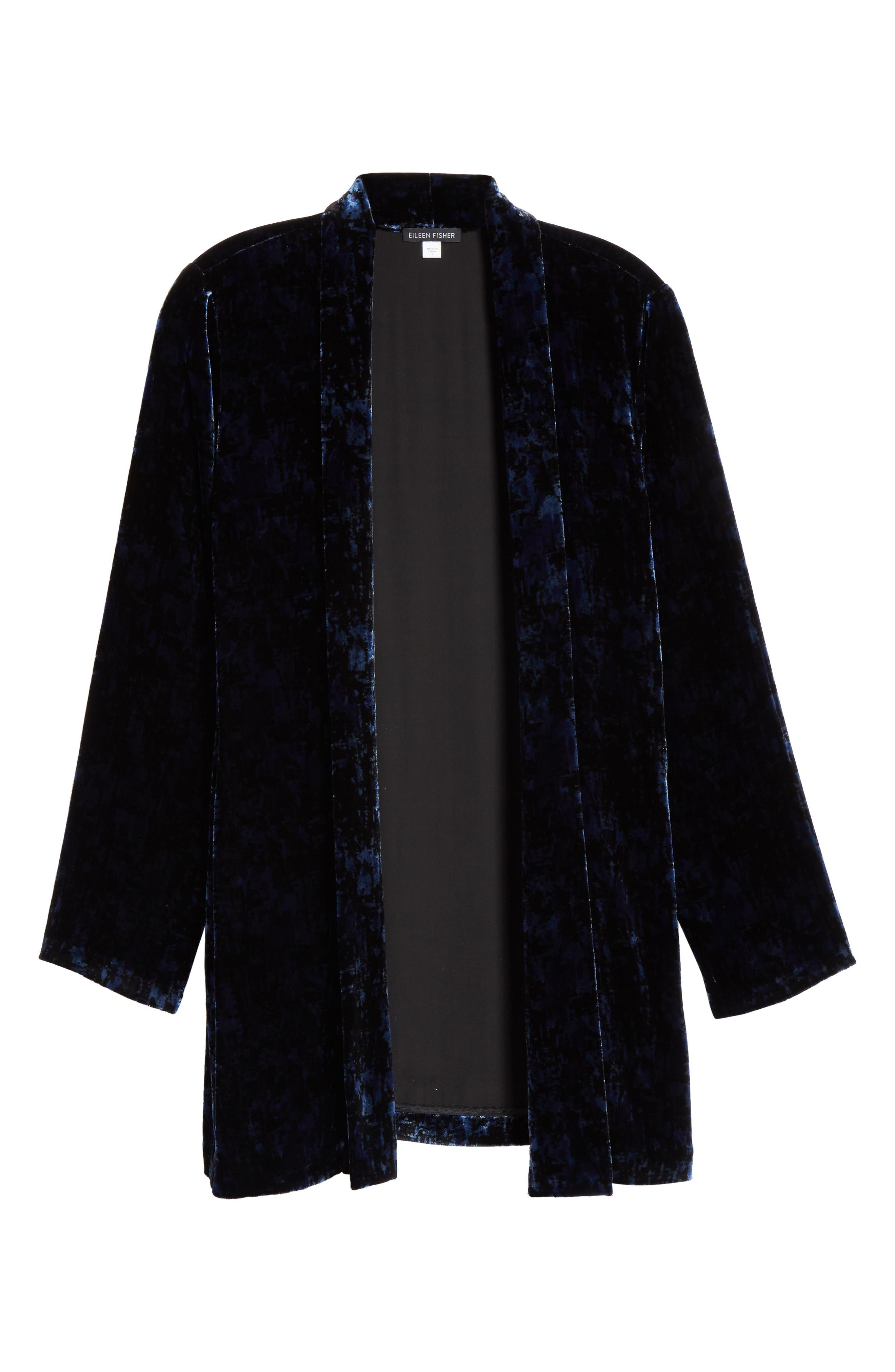 Shawl Collar Velvet Jacket,                             Alternate thumbnail 6, color,                             MIDNIGHT
