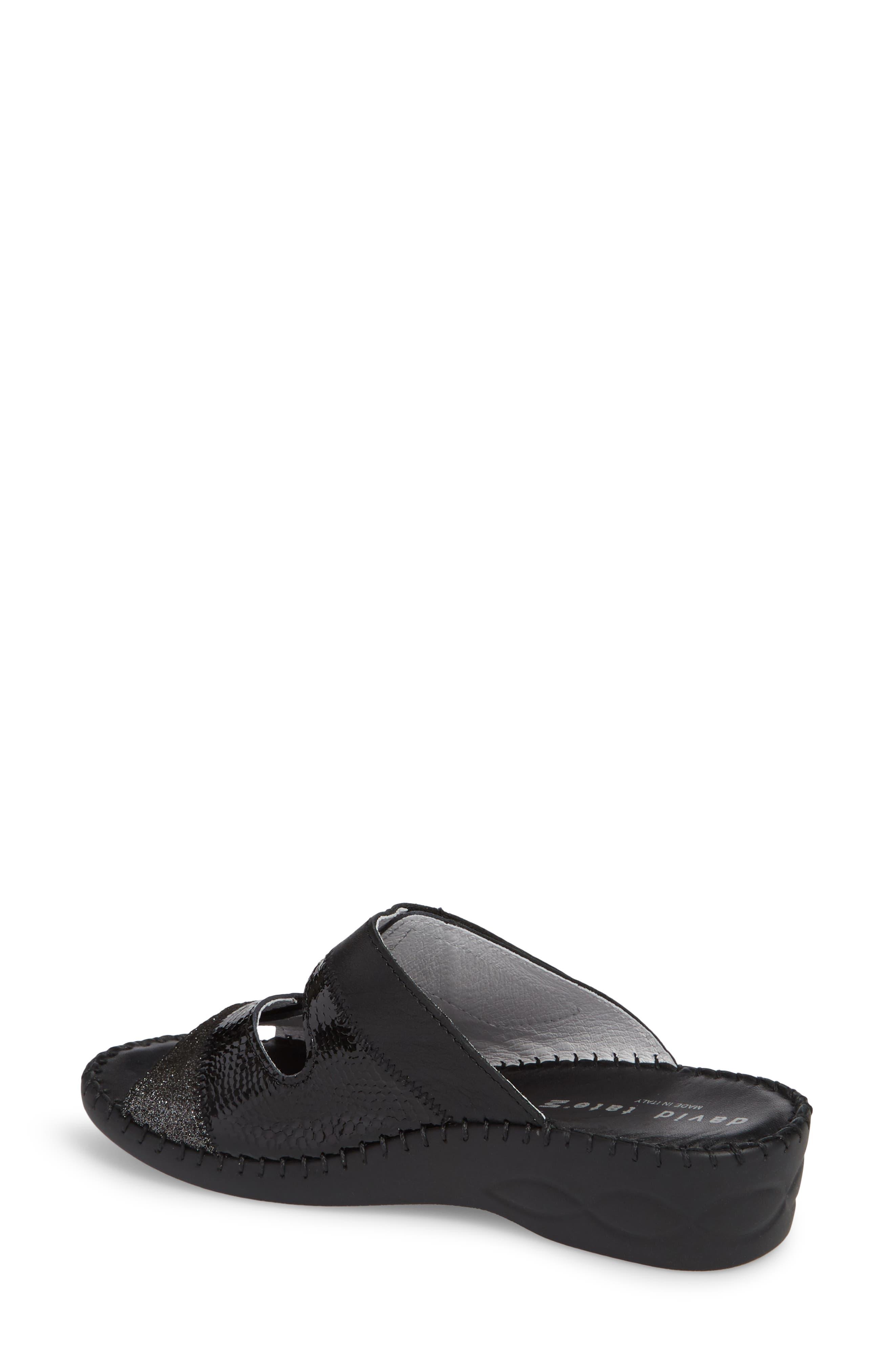 Flex Slide Sandal,                             Alternate thumbnail 2, color,                             BLACK LEATHER
