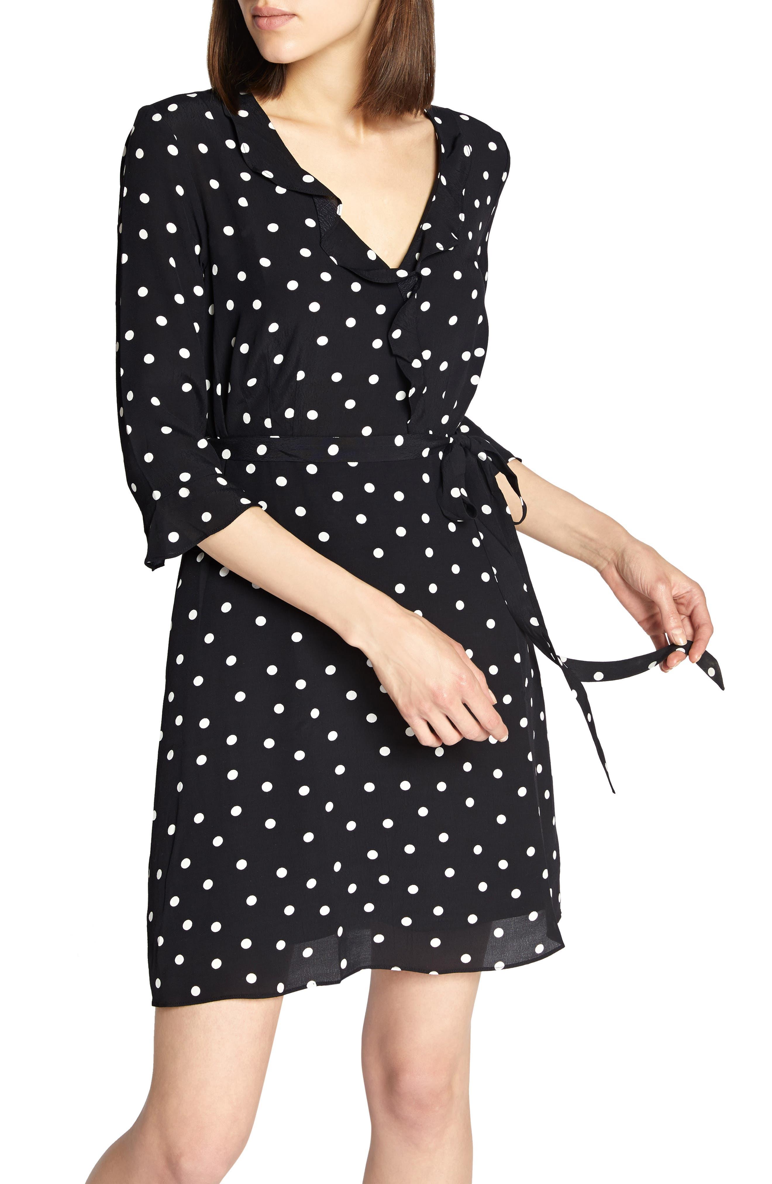 Faux Wrap Eye Candy Dress,                             Main thumbnail 1, color,                             BLACK DOTS