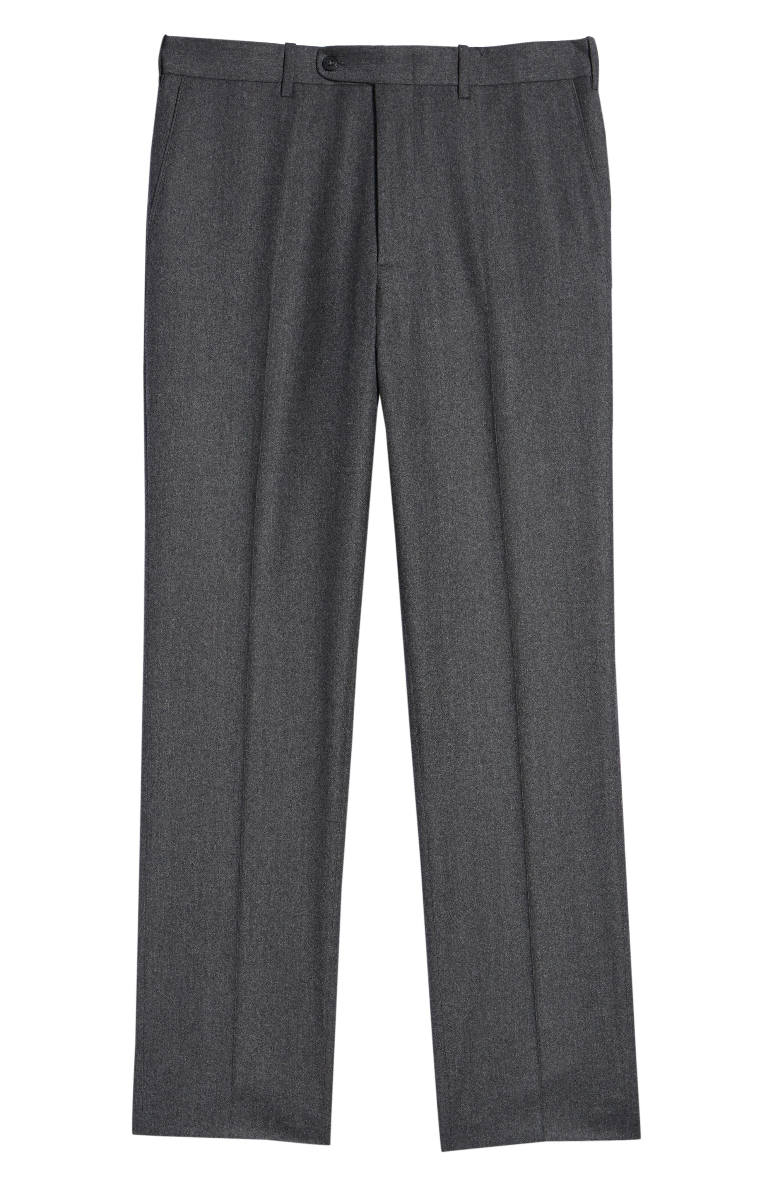 Torino Traditional Fit Flat Front Solid Wool & Cashmere Trousers,                             Alternate thumbnail 6, color,                             MID GREY