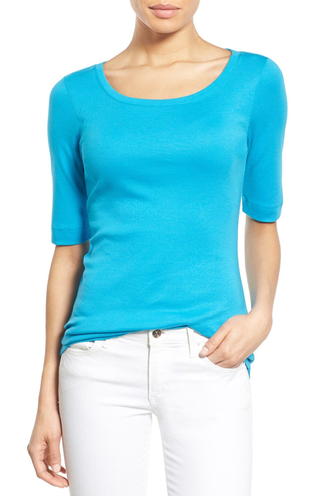 Ballet Neck Cotton & Modal Knit Elbow Sleeve Tee,                             Main thumbnail 25, color,