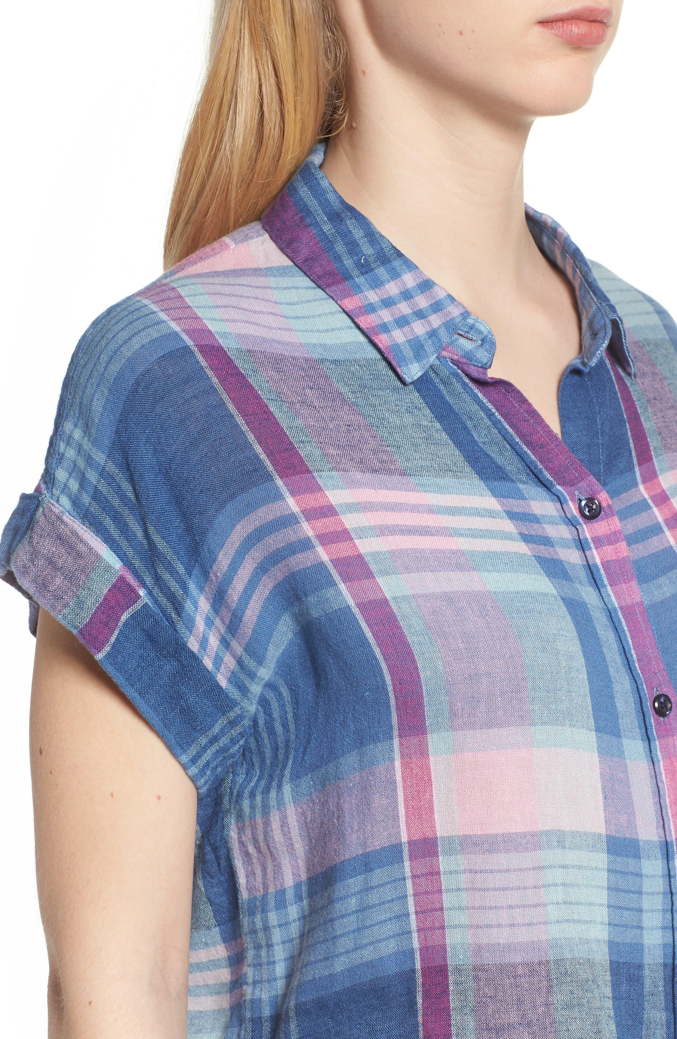 Amelie Tie Front Shirt,                             Alternate thumbnail 4, color,                             LAGUNA COAST AZALEA