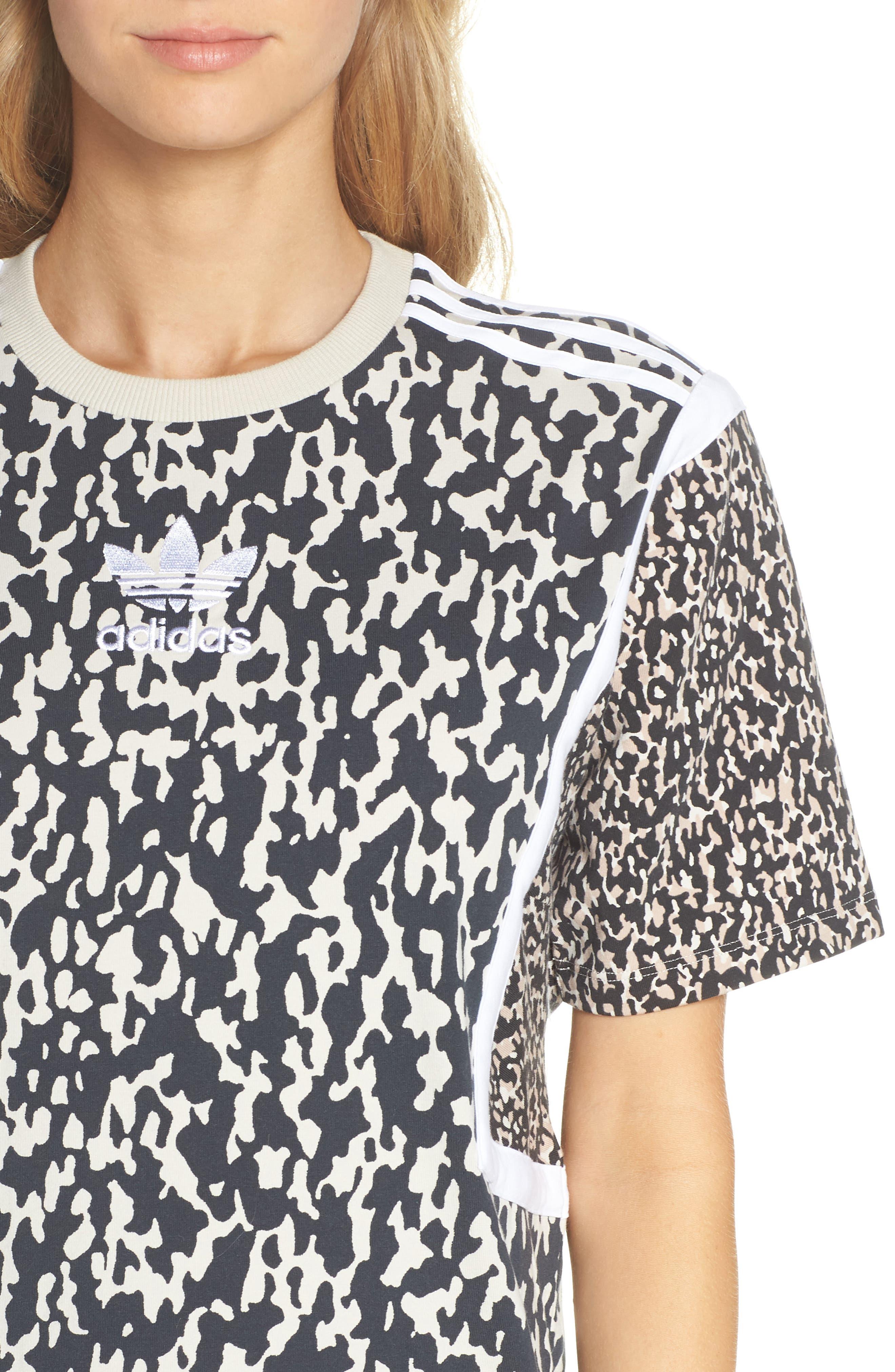 adidas Animal Print Shift Dress,                             Alternate thumbnail 4, color,                             250