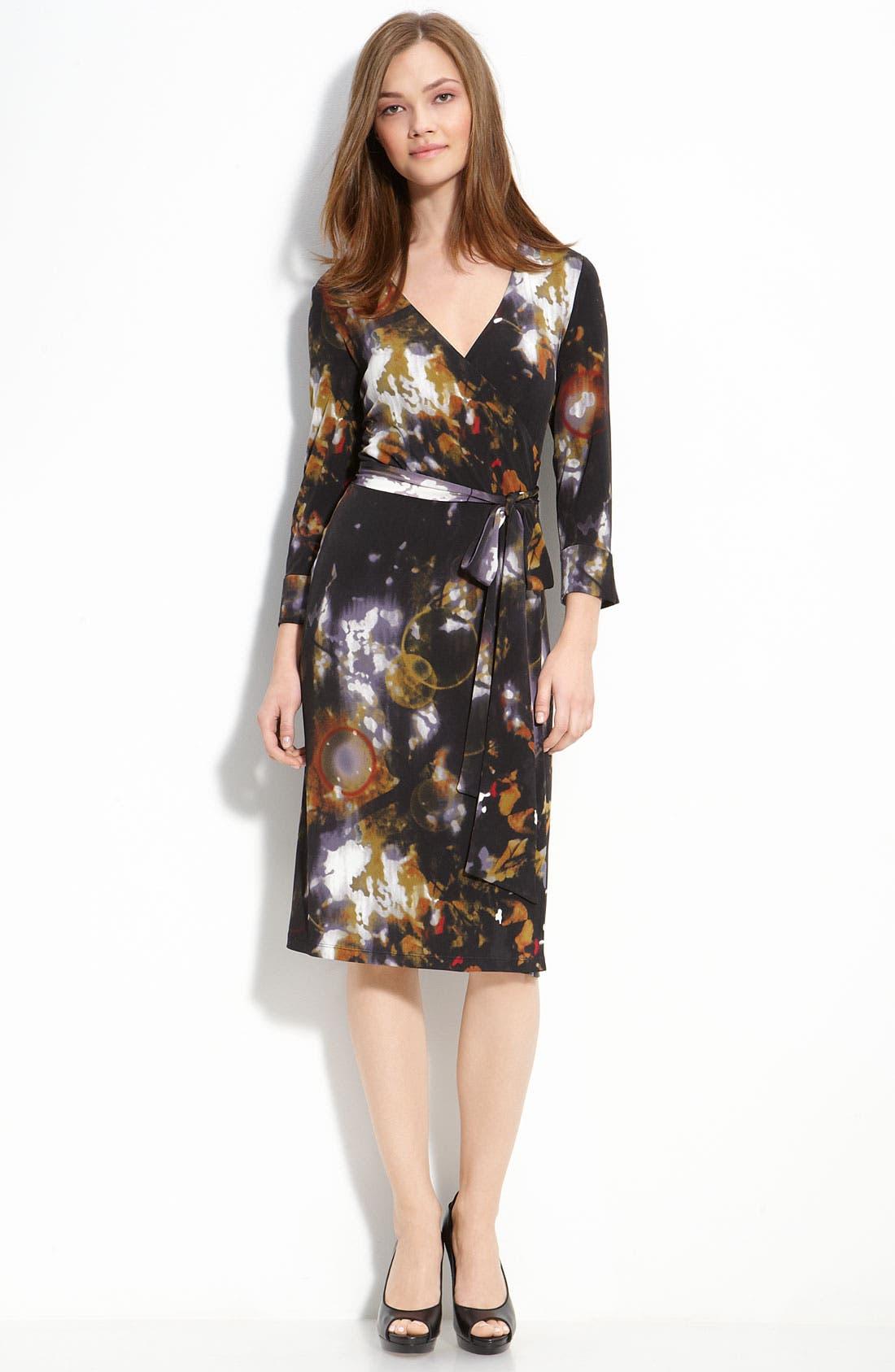 Print Faux Wrap Dress, Main, color, 001