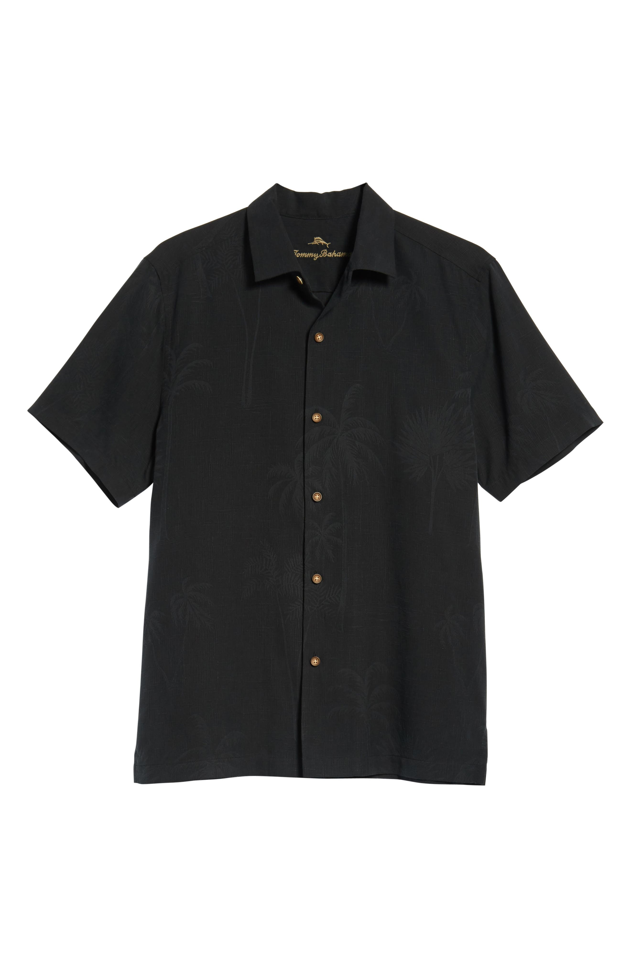 Wish Yule Were Here Silk Camp Shirt,                             Alternate thumbnail 6, color,                             BLACK