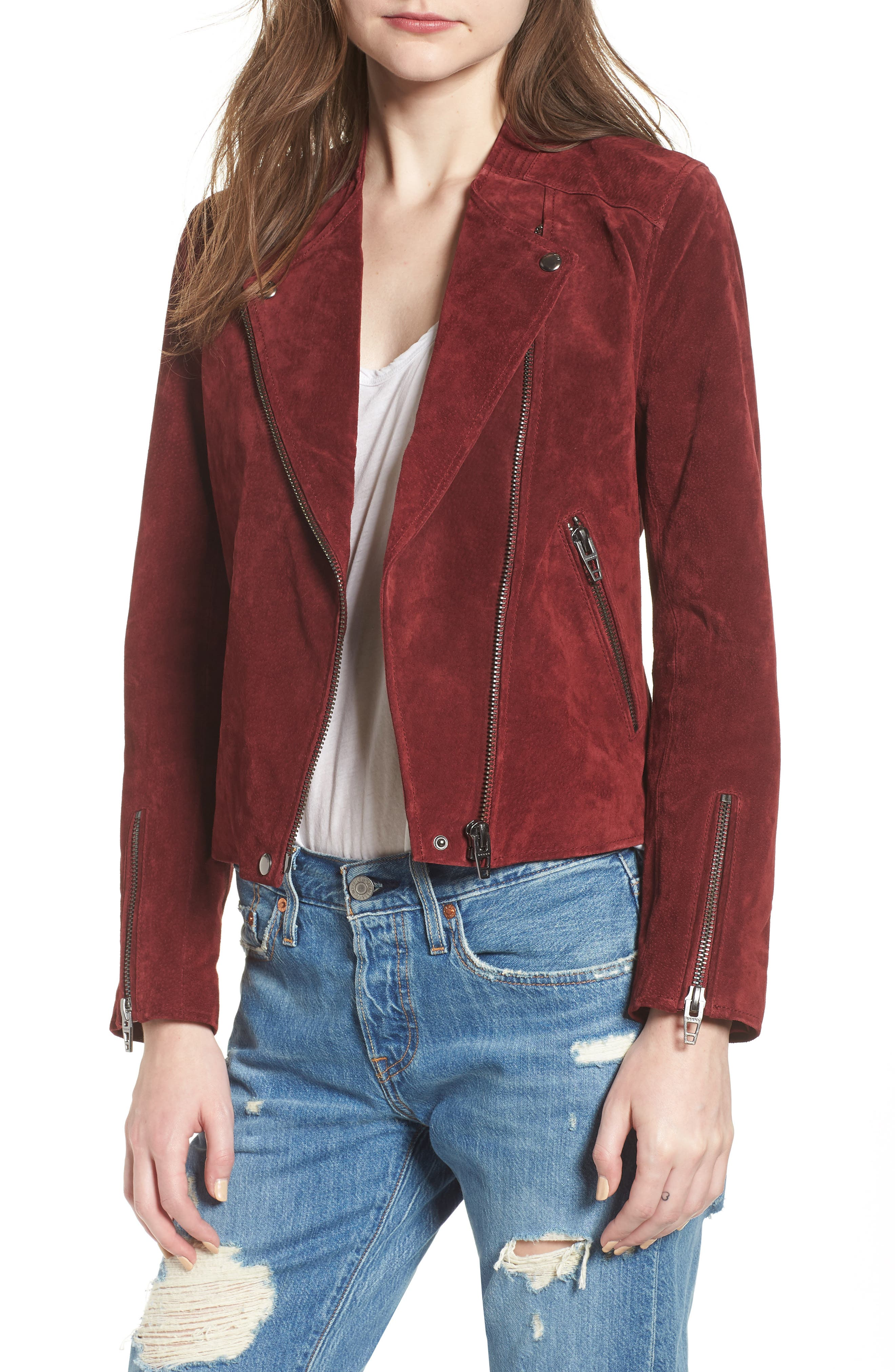BLANKNYC,                             No Limit Suede Moto Jacket,                             Main thumbnail 1, color,                             RUBY
