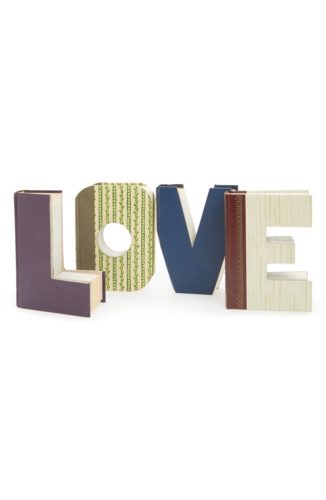 'Love - One of a Kind' Hand-Carved Recycled Book Shelf Art,                             Main thumbnail 1, color,                             200