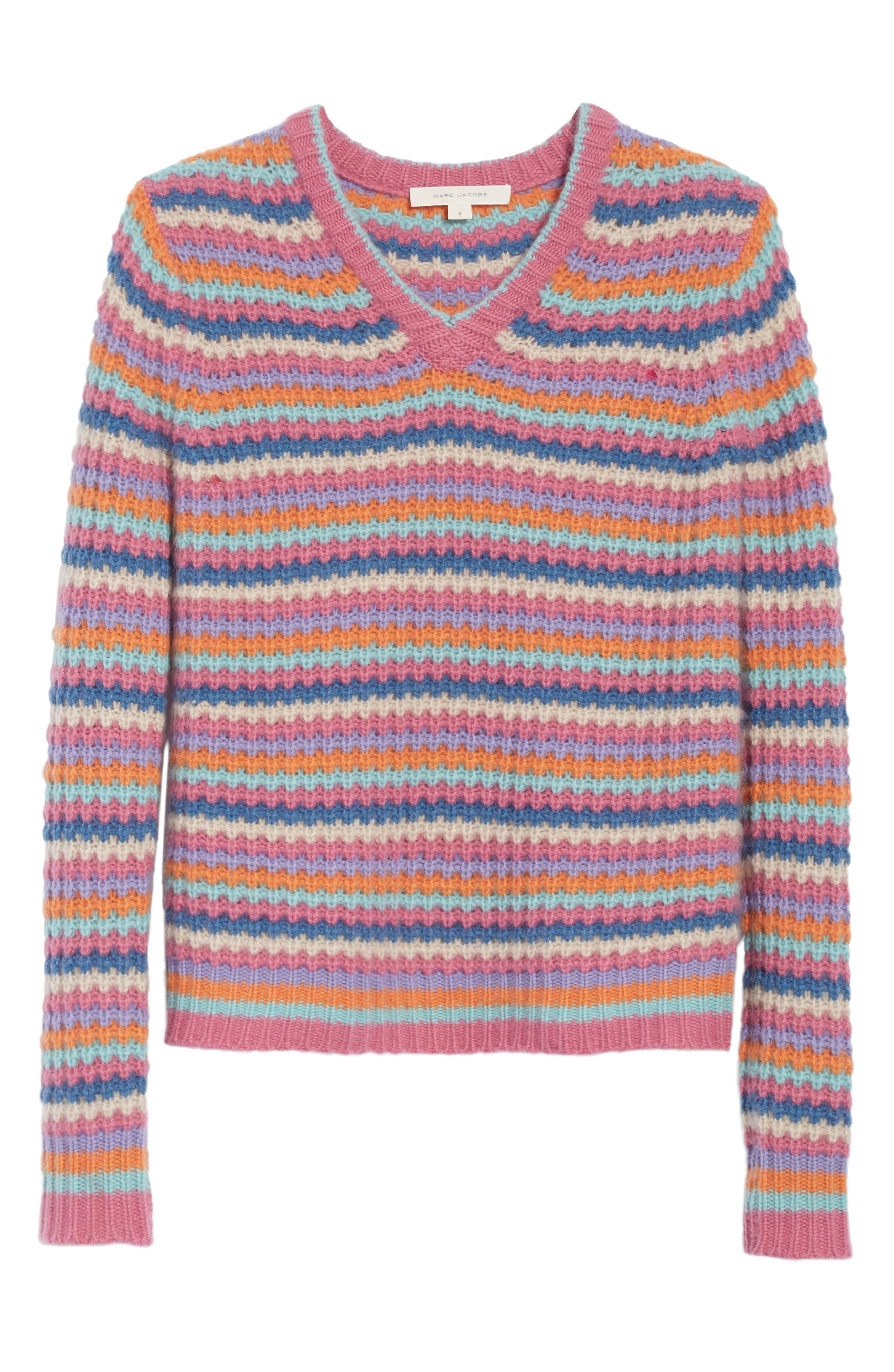 Stripe Cashmere Sweater,                             Alternate thumbnail 6, color,                             651