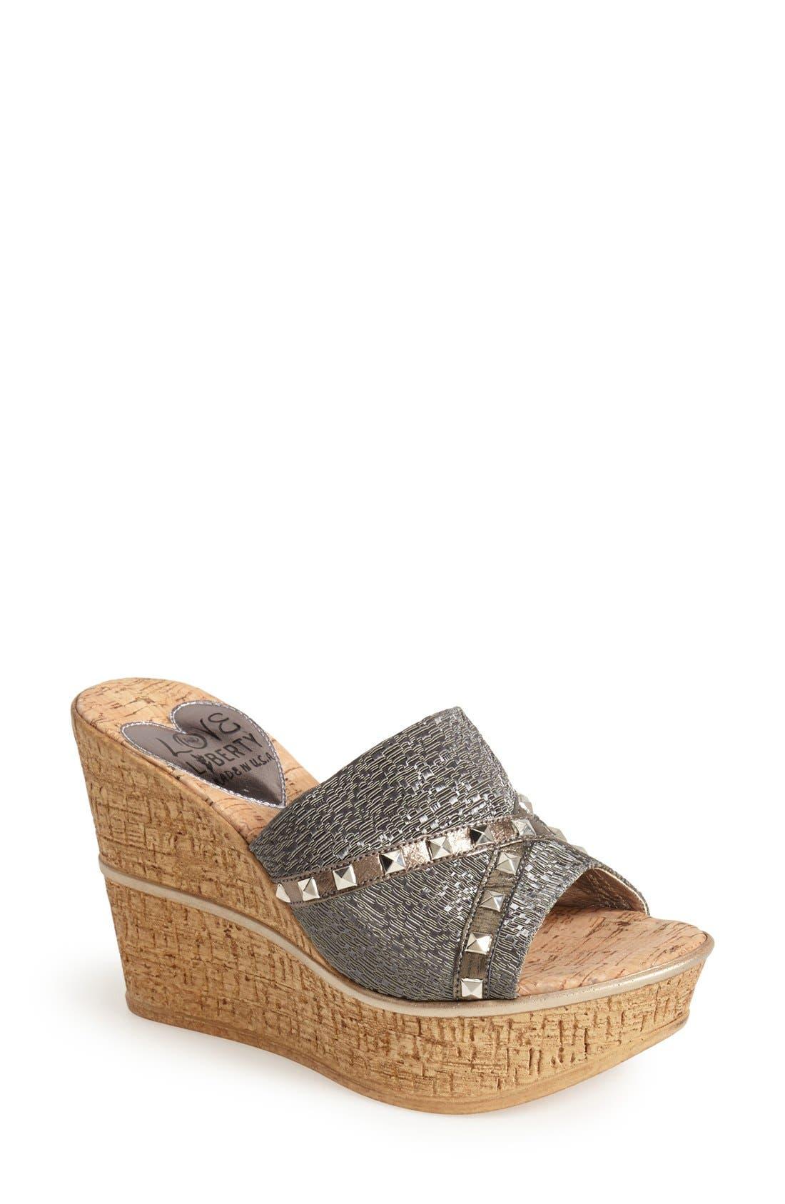 'Margo' Wedge Slide Sandal,                             Main thumbnail 1, color,                             040