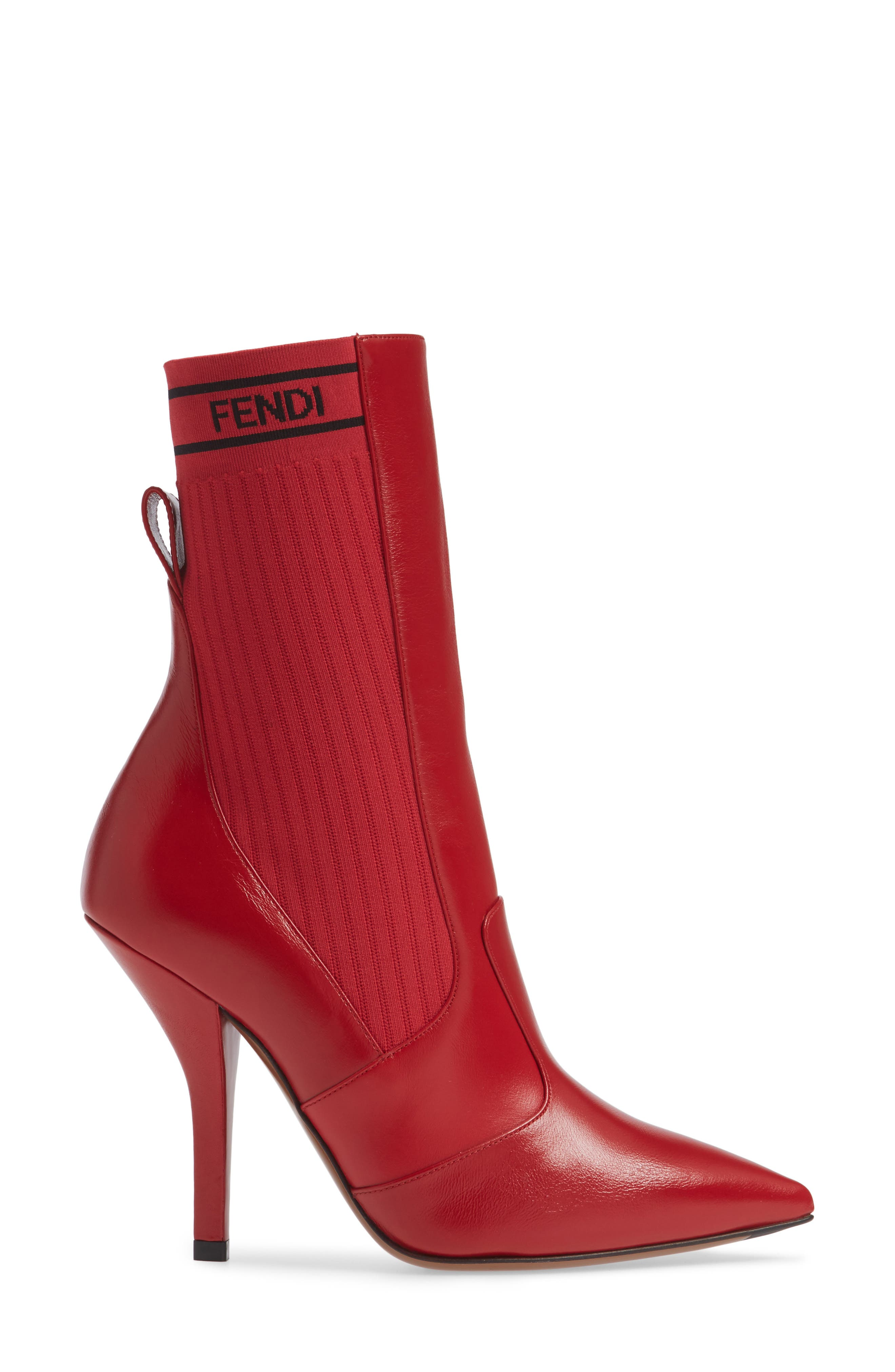 Rockoko Bootie,                             Alternate thumbnail 3, color,                             RED LEATHER