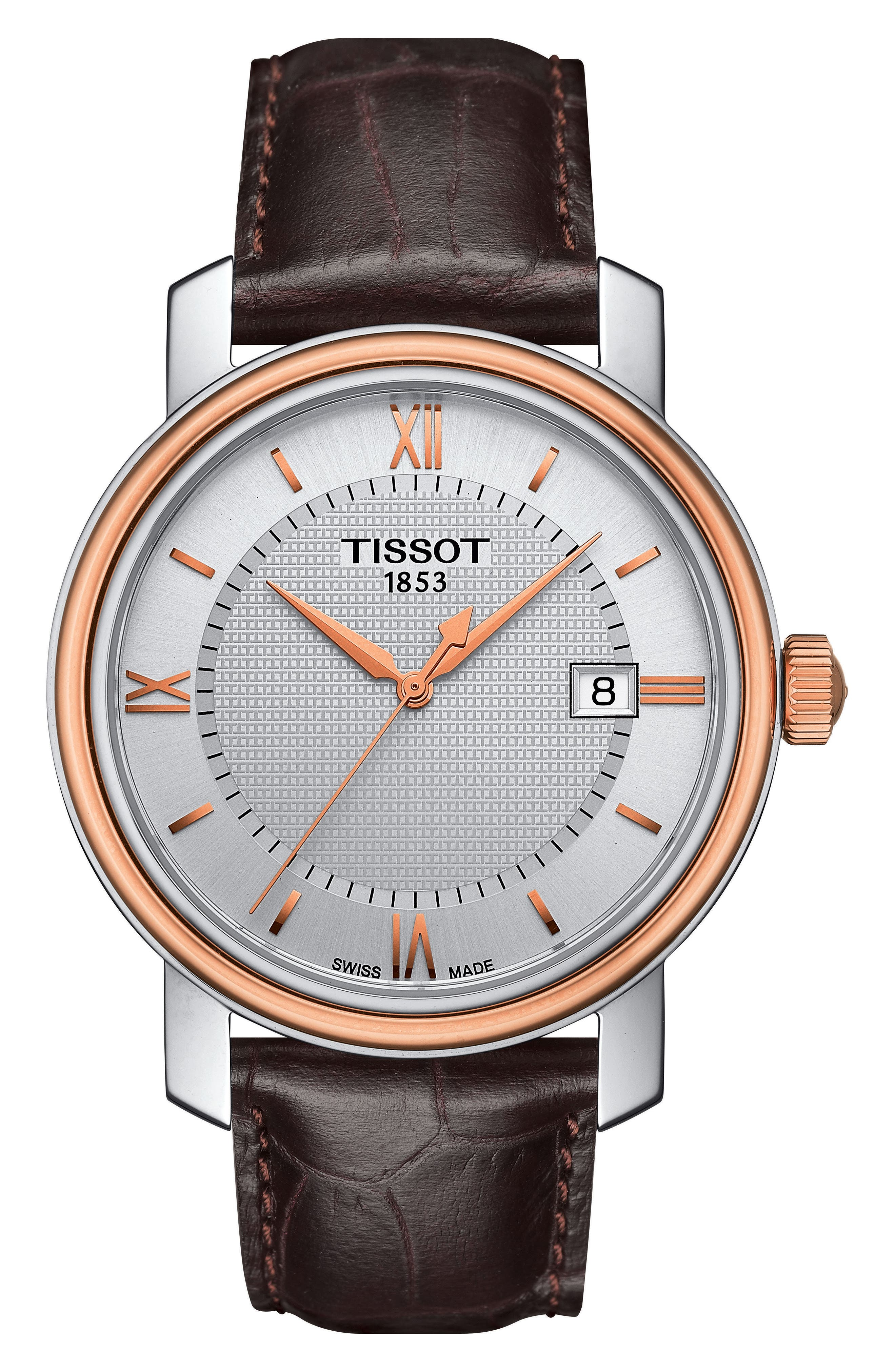 Bridgeport Leather Strap Watch, 40mm,                         Main,                         color, BROWN/ SILVER/ ROSE GOLD