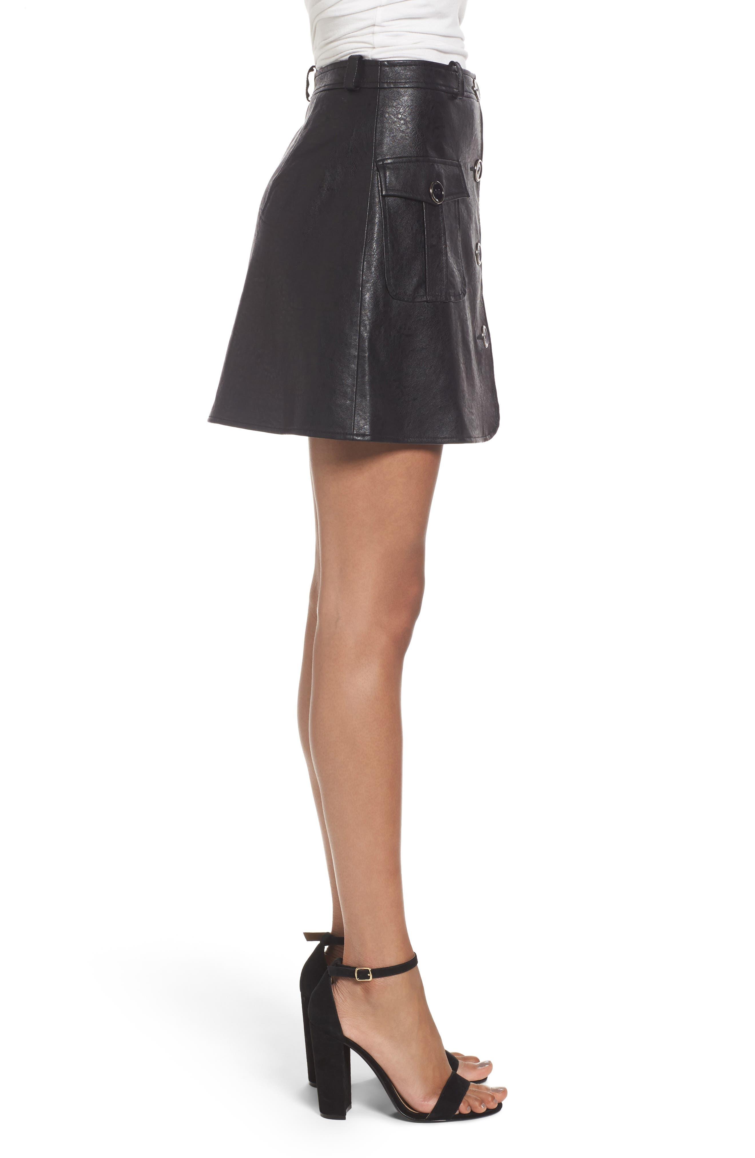 Envoy Faux Leather Moto Skirt,                             Alternate thumbnail 3, color,