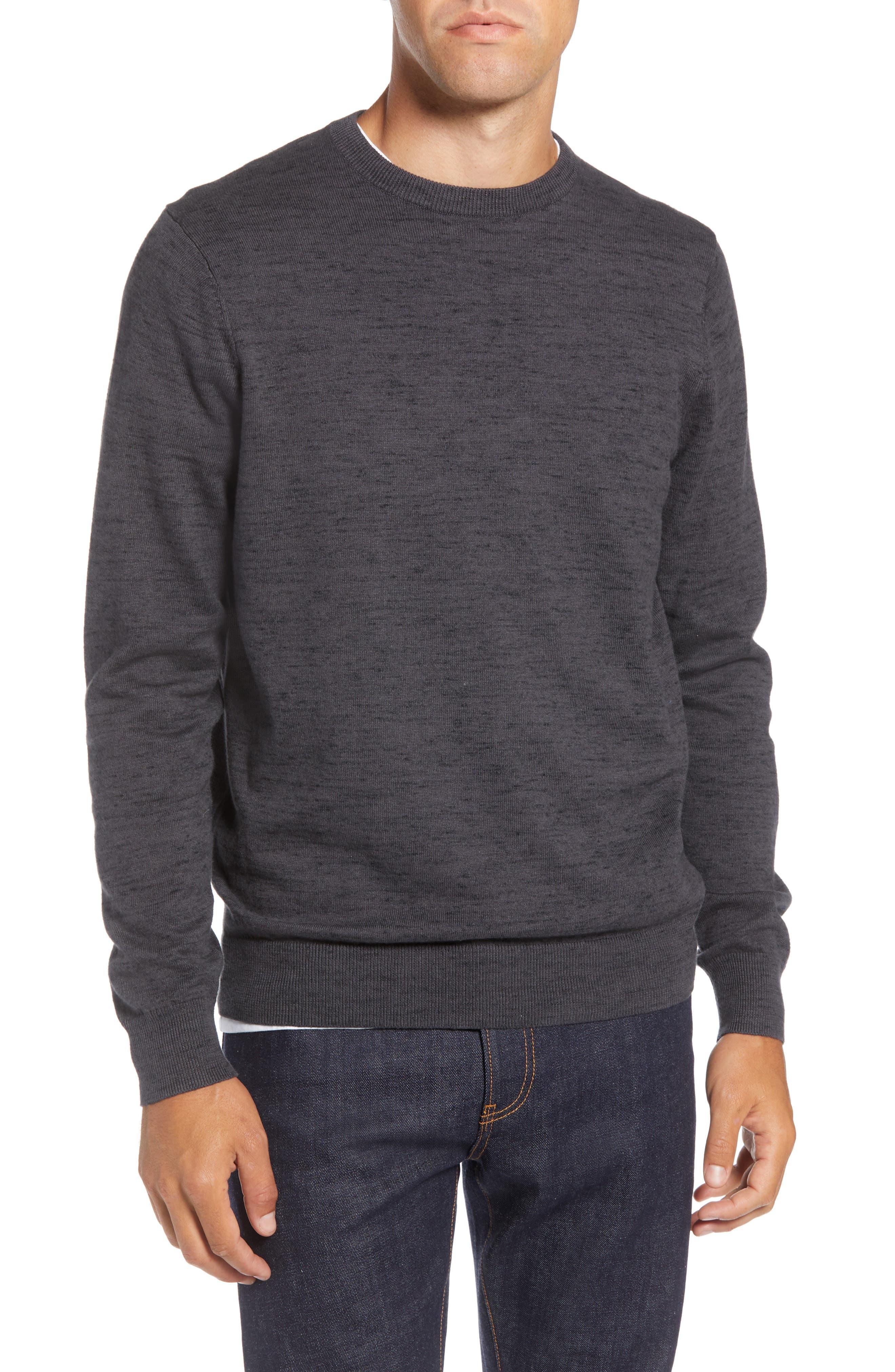 Regular Fit Crewneck Sweater,                             Main thumbnail 1, color,                             GREY DARK CHARCOAL HEATHER