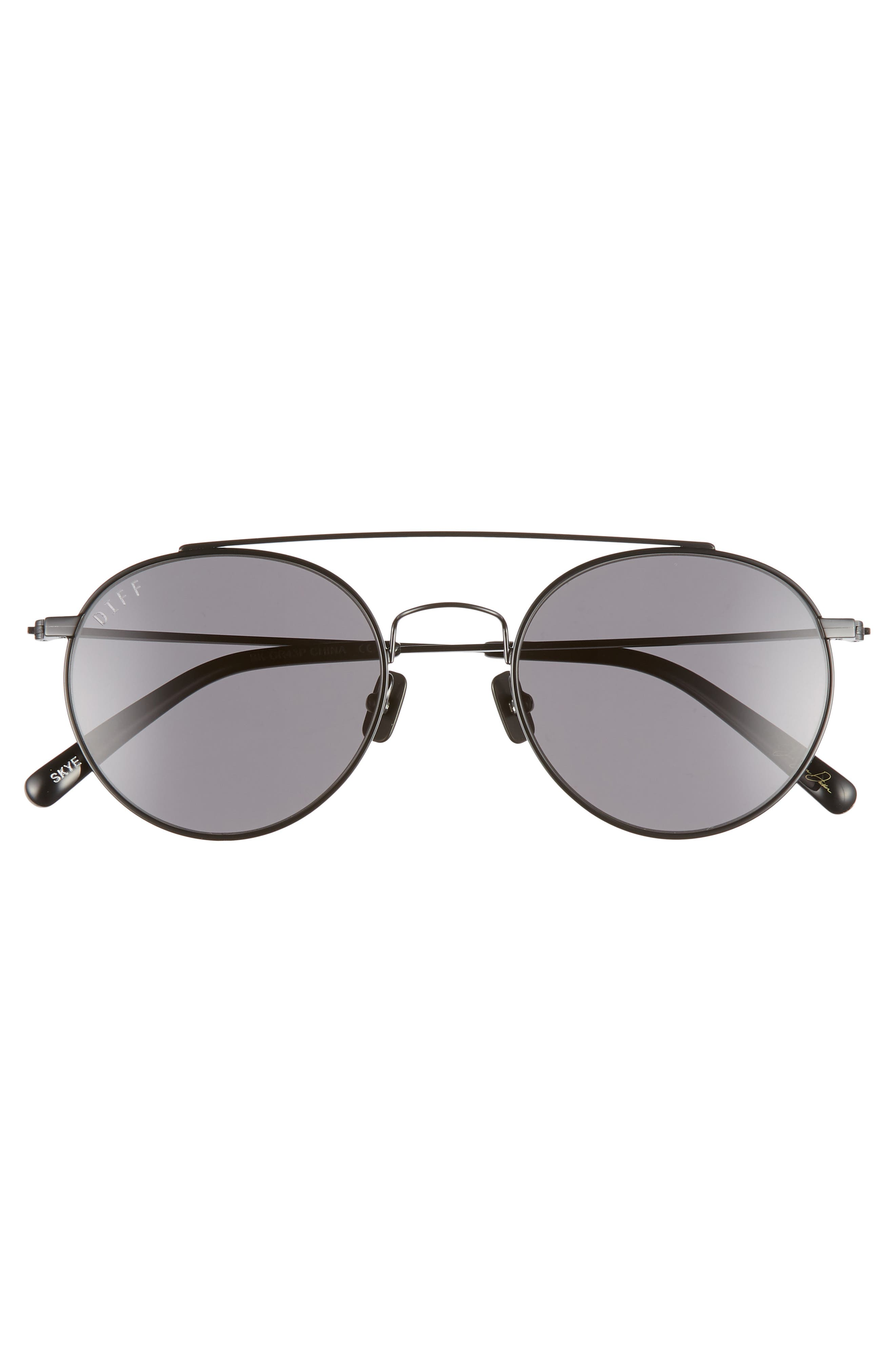 x Jessie James Decker Skye 52mm Polarized Round Sunglasses,                             Alternate thumbnail 3, color,                             BLACK/ GREY