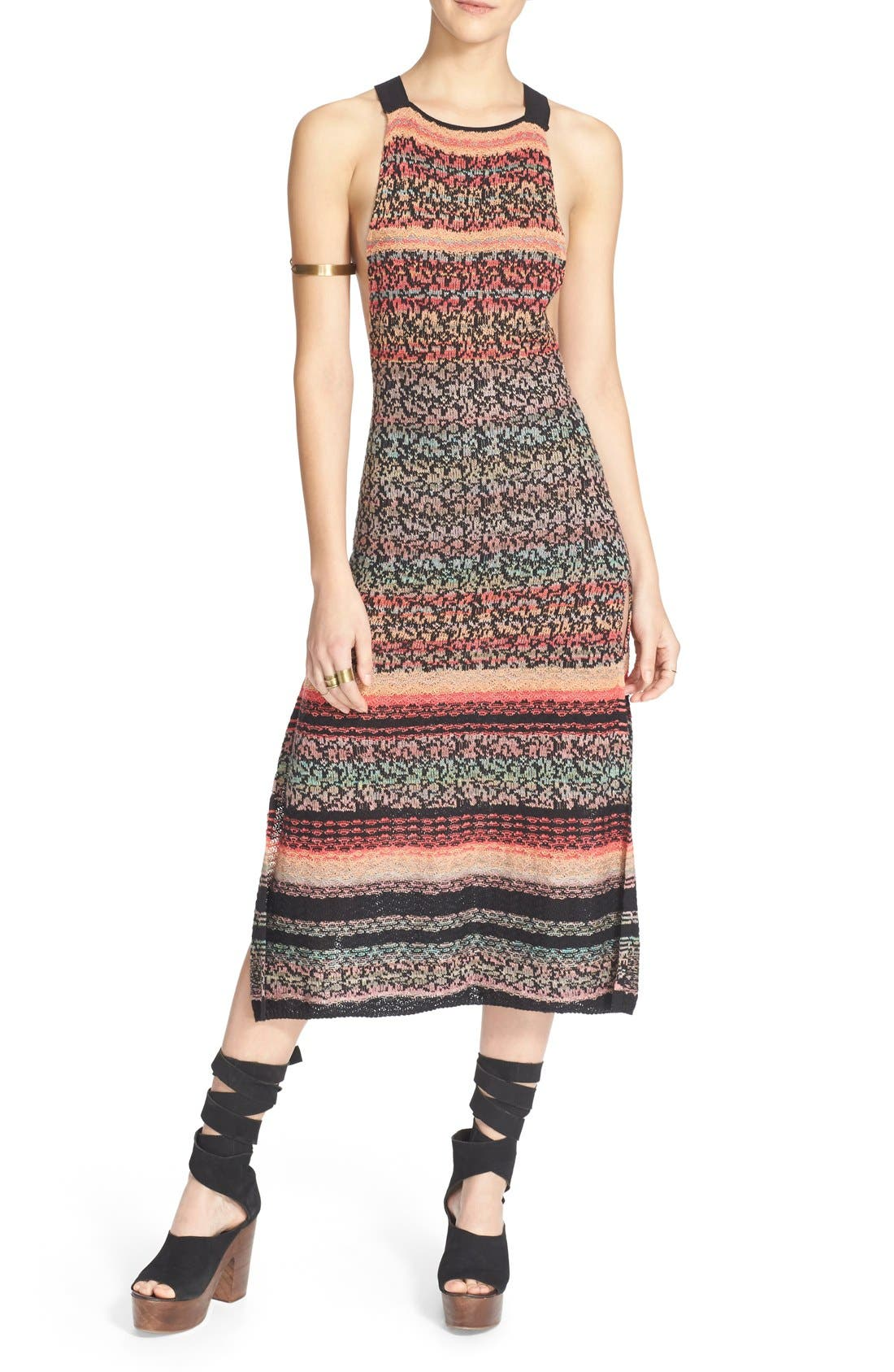 'Midnight Flowers' Split Hem Dress, Main, color, 001