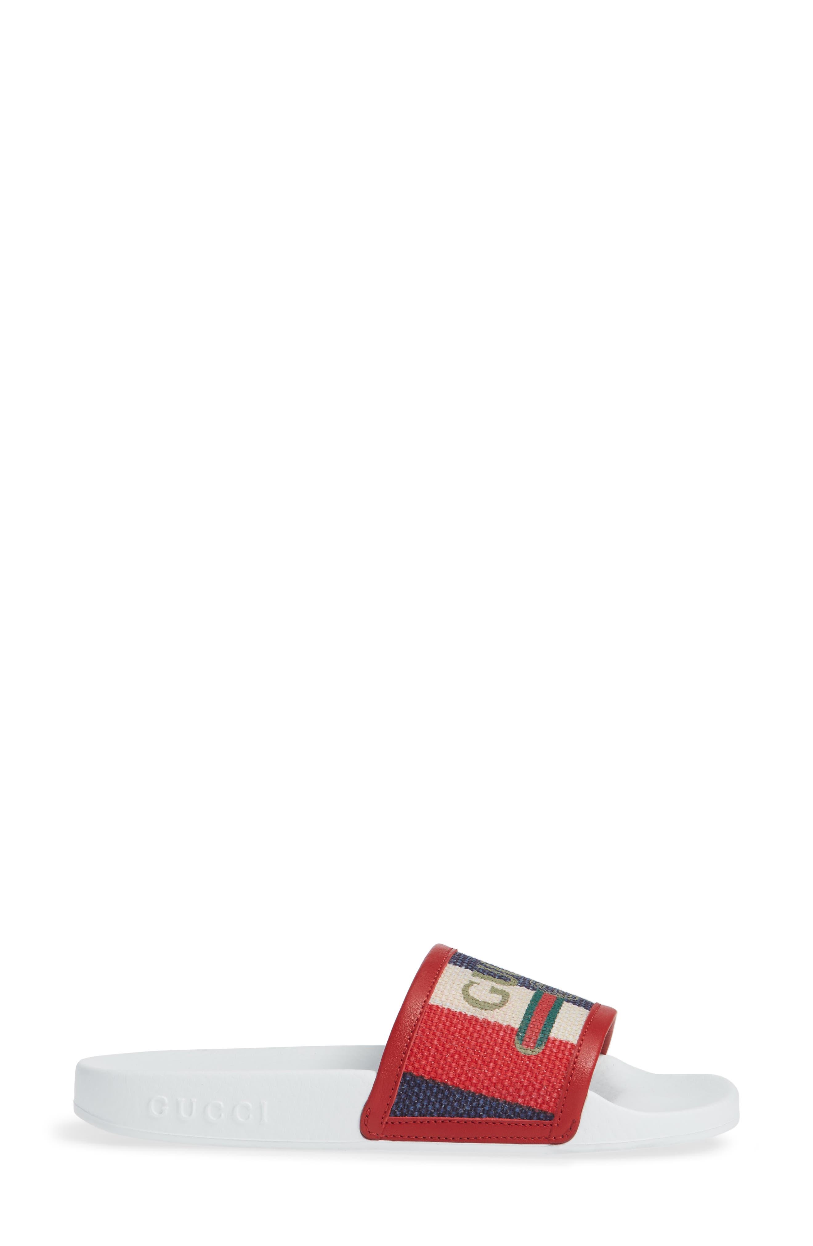 Sylvie Stripe Slide Sandal,                             Alternate thumbnail 3, color,                             100
