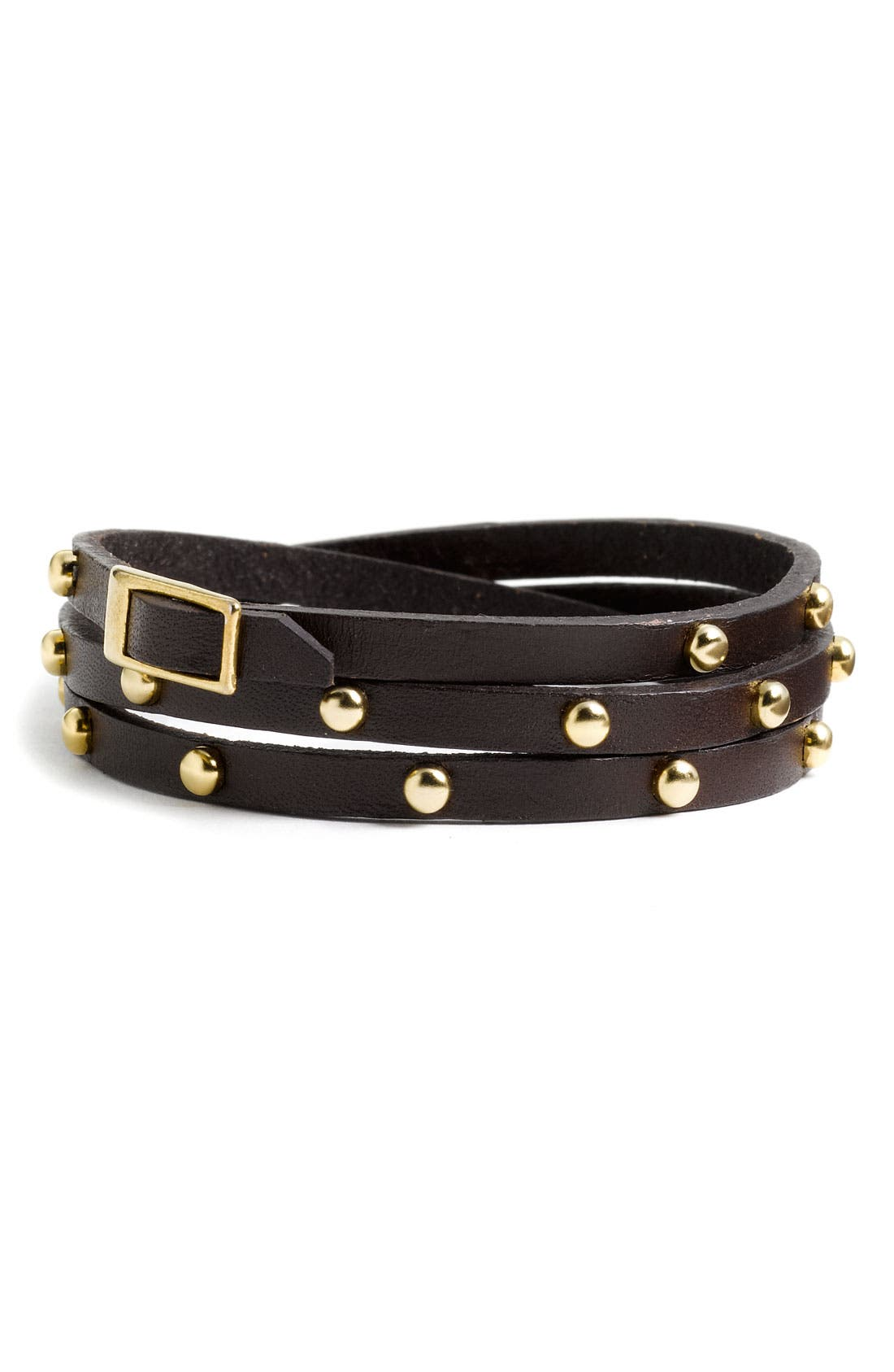 Accessories Leather & Metal Stud Wrap Bracelet,                             Main thumbnail 2, color,