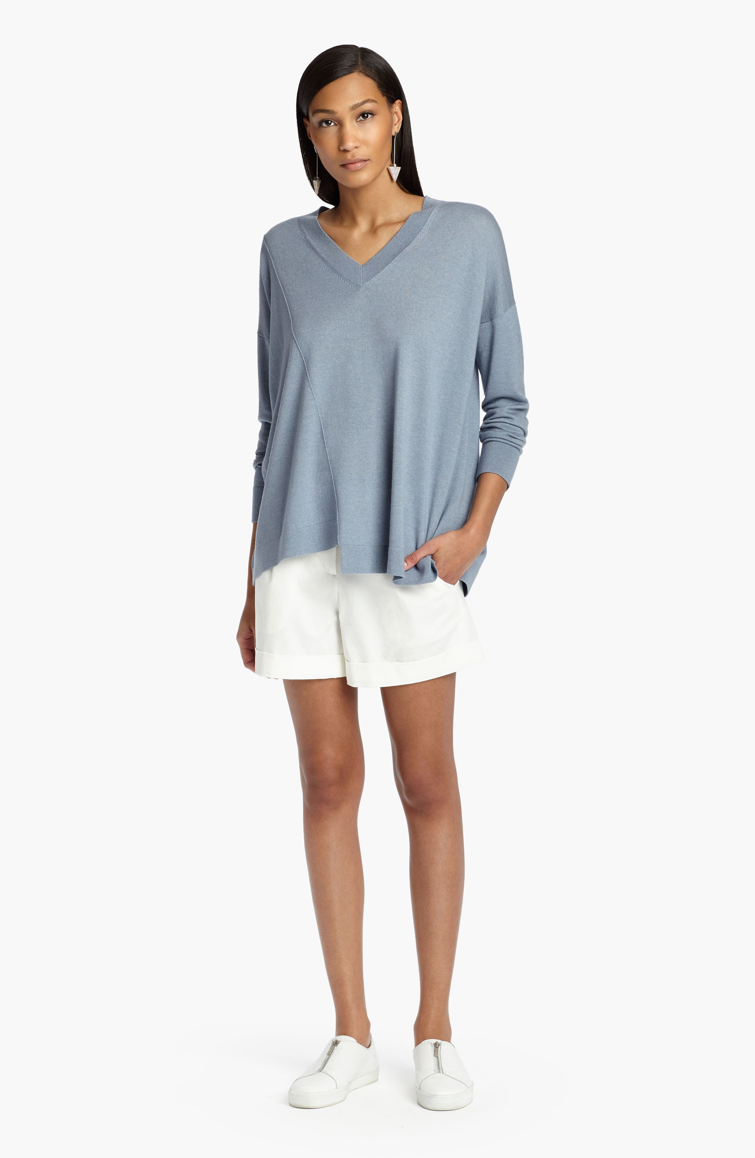 Asymmetrical Cashmere & Silk Blend Sweater,                             Alternate thumbnail 6, color,
