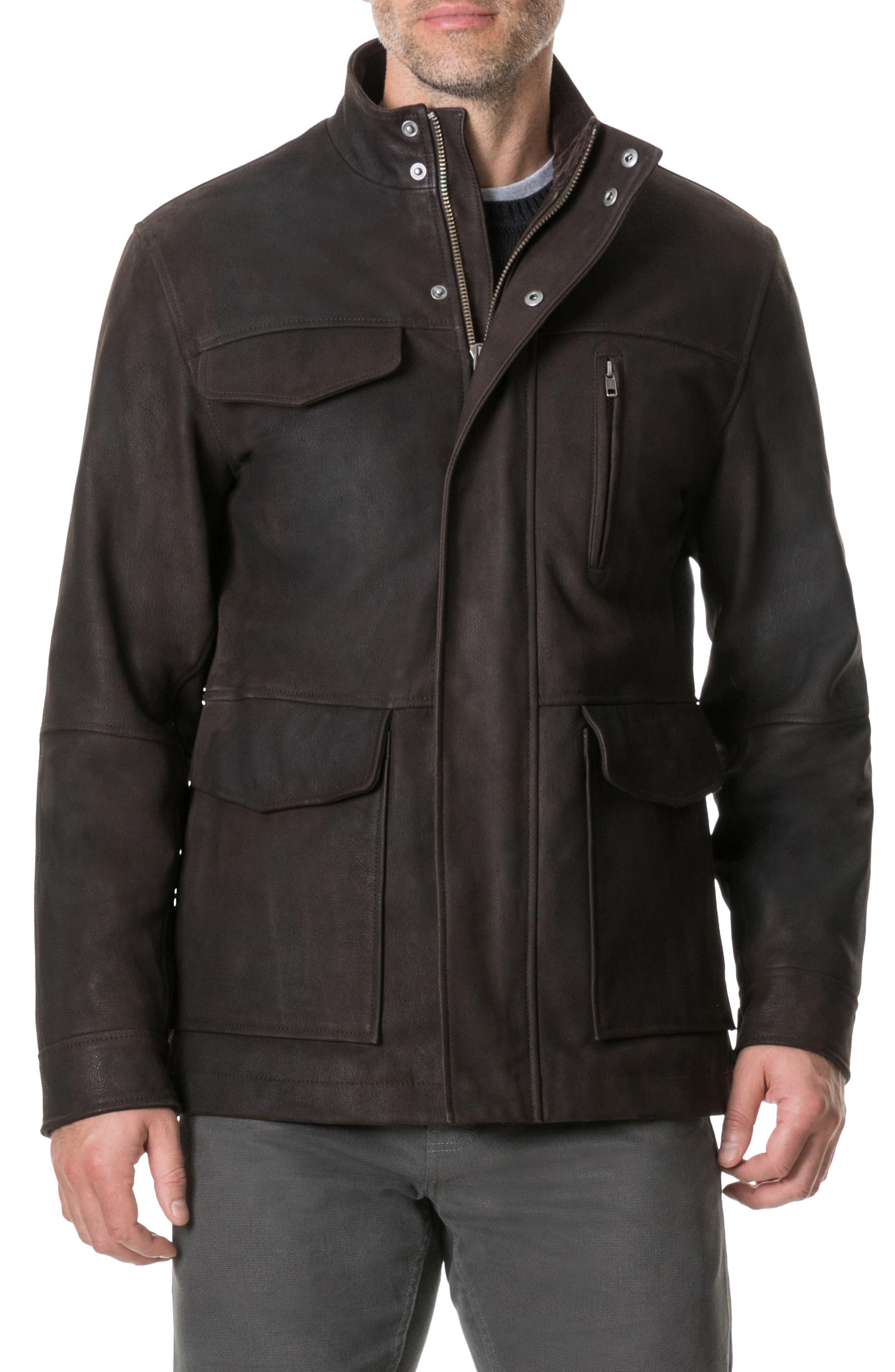 Fairholme Leather Jacket,                         Main,                         color, CHOCOLATE
