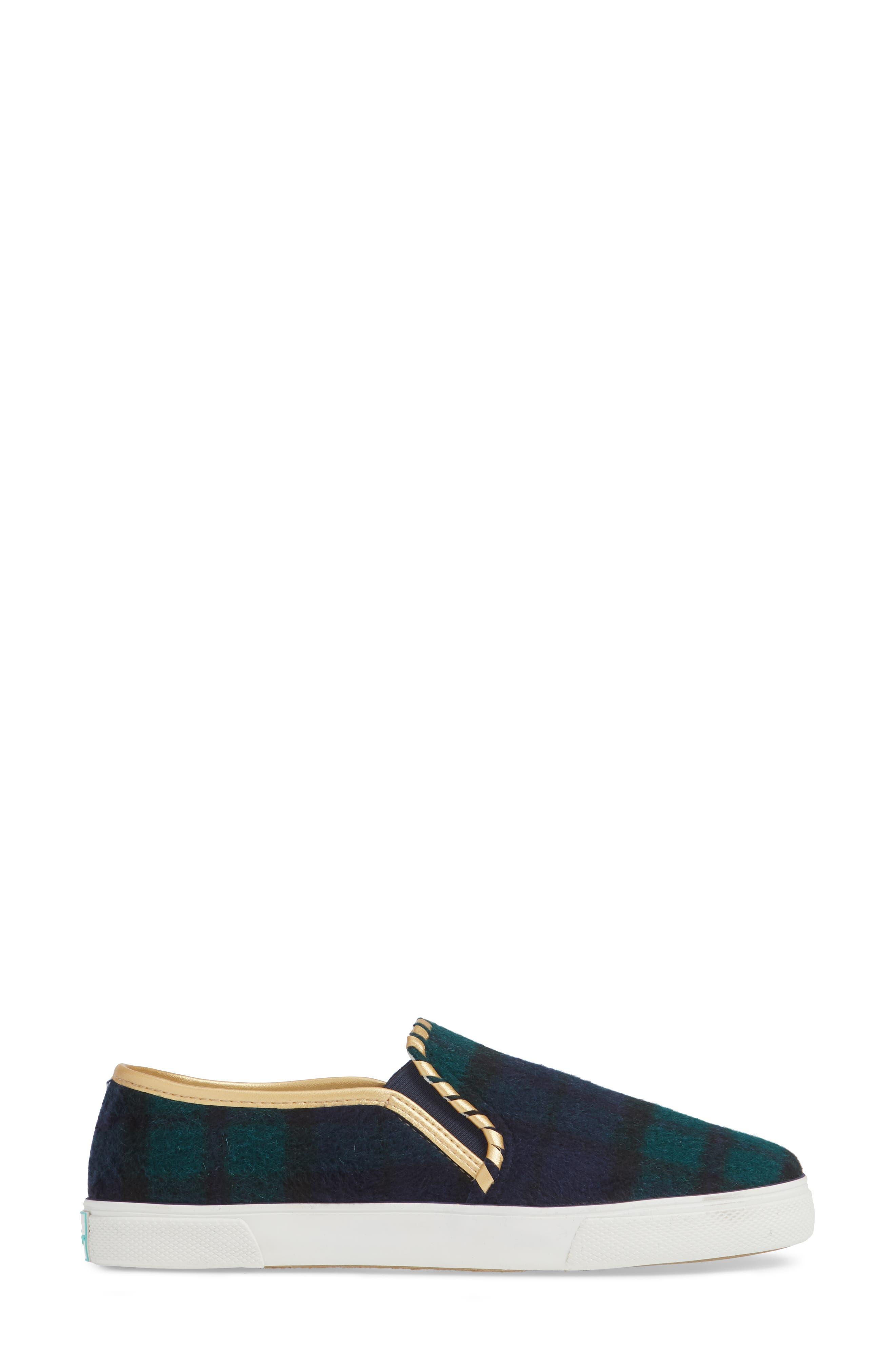 Brynne Slip-On Sneaker,                             Alternate thumbnail 3, color,                             MIDNIGHT/ GREEN FABRIC