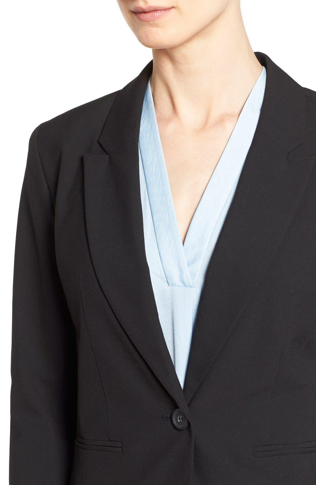 One-Button Stretch Suit Jacket,                             Alternate thumbnail 6, color,                             001