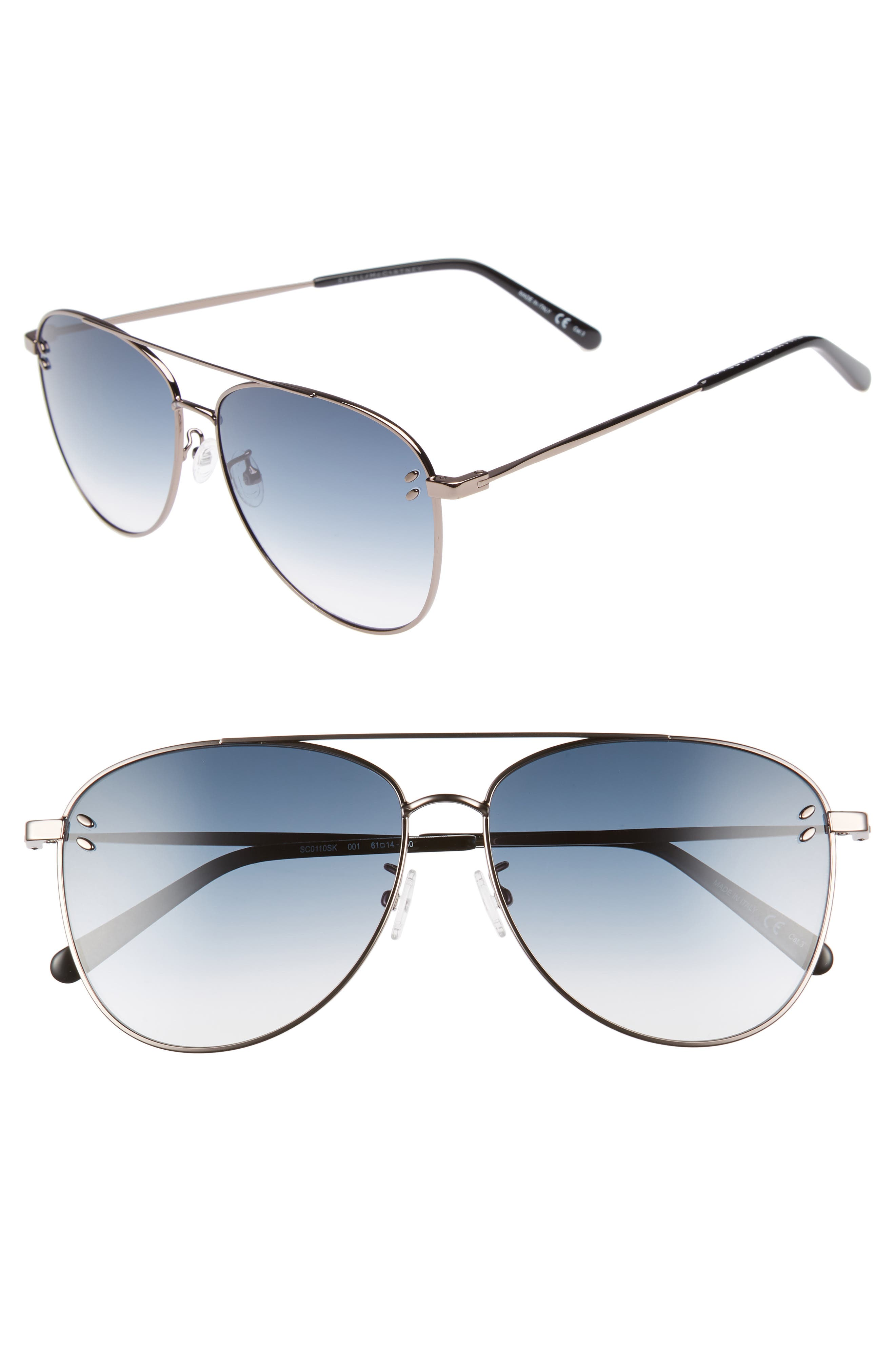 61mm Aviator Sunglasses,                             Main thumbnail 1, color,                             041