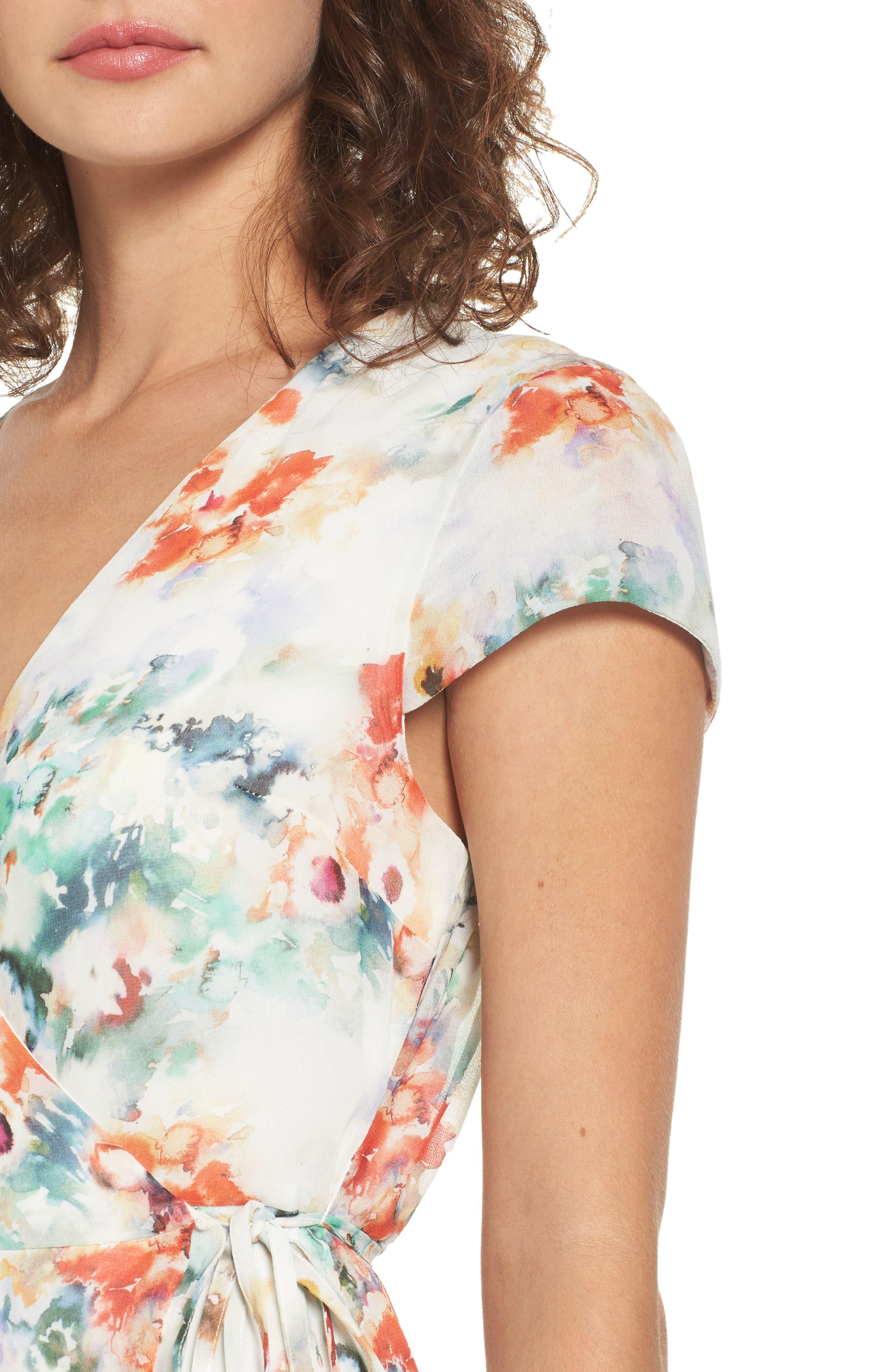 Floral Wrap Dress,                             Alternate thumbnail 6, color,