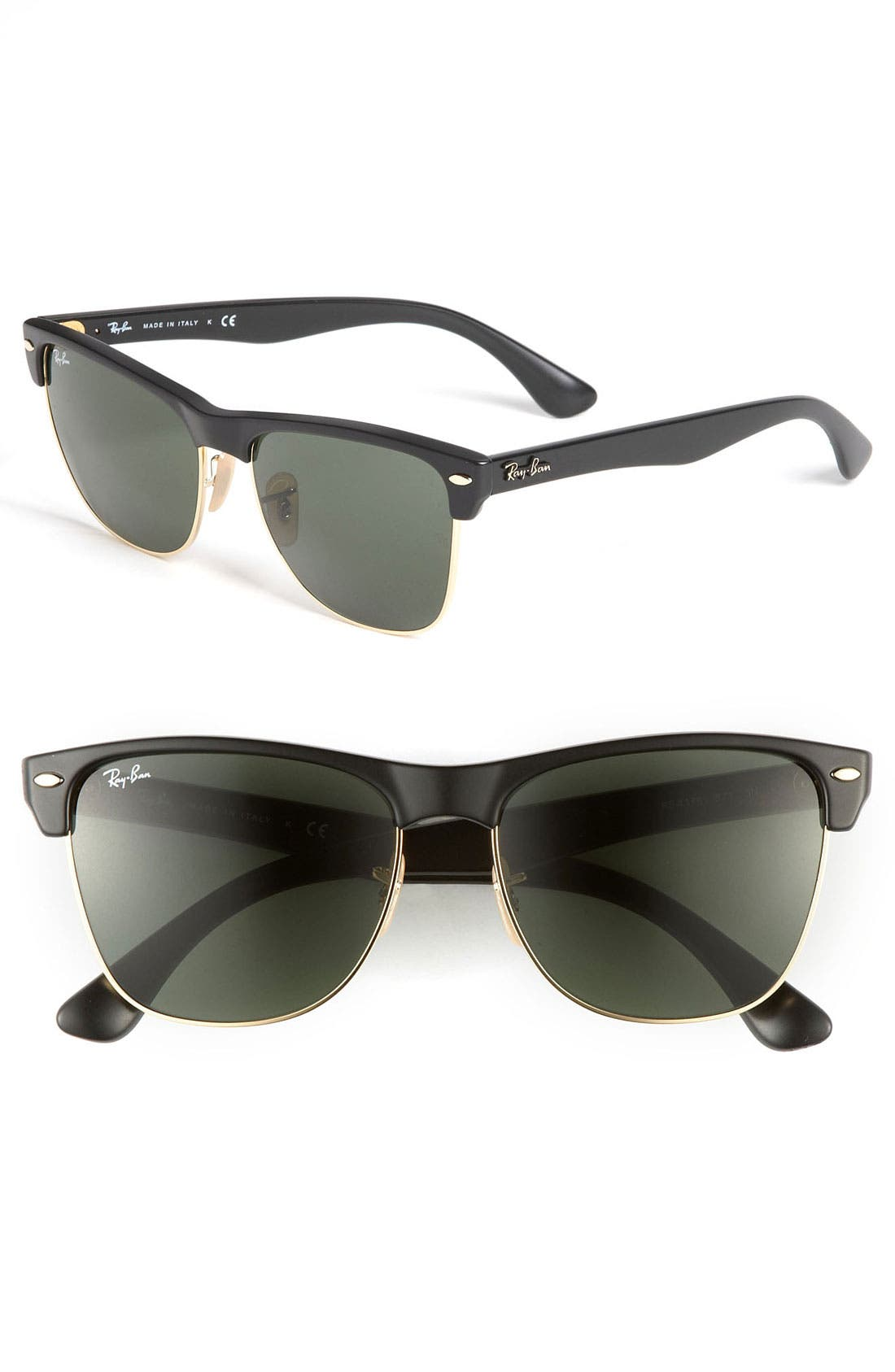 Highstreet 57mm Sunglasses,                             Main thumbnail 1, color,                             DEMI BLACK/ GREEN SOLID