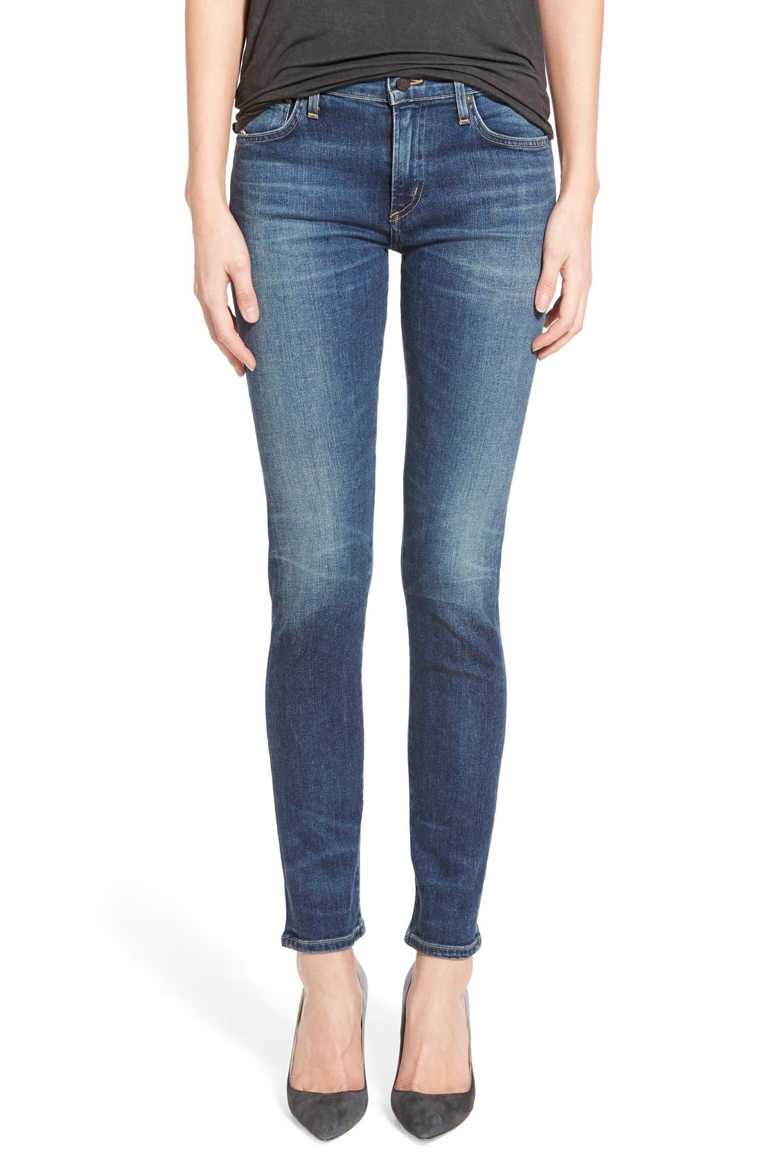 'Agnes' Slim Straight Leg Jeans, Main, color, 400