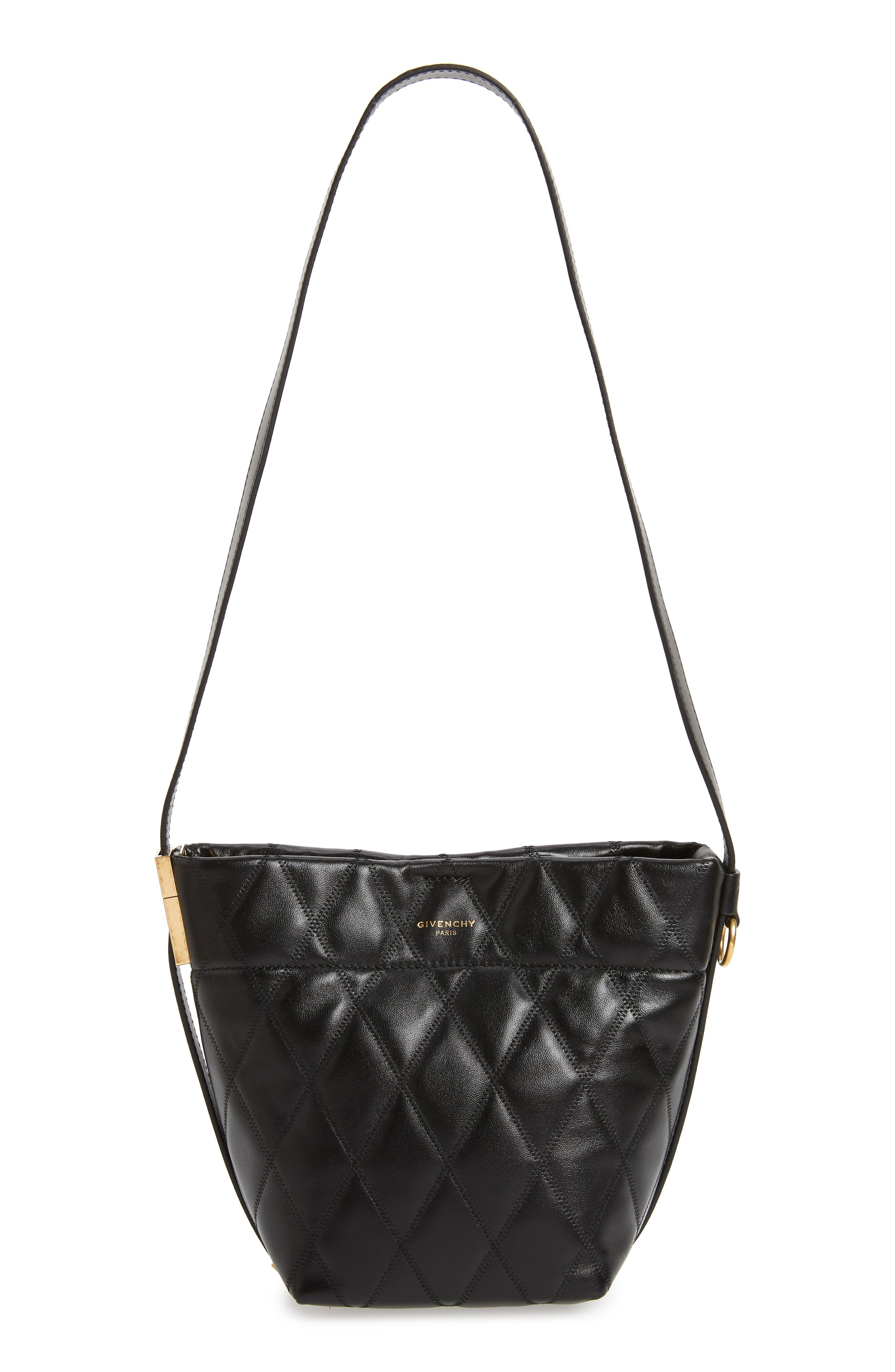 GIVENCHY,                             Mini GV Quilted Lambskin Leather Bucket Bag,                             Main thumbnail 1, color,                             BLACK